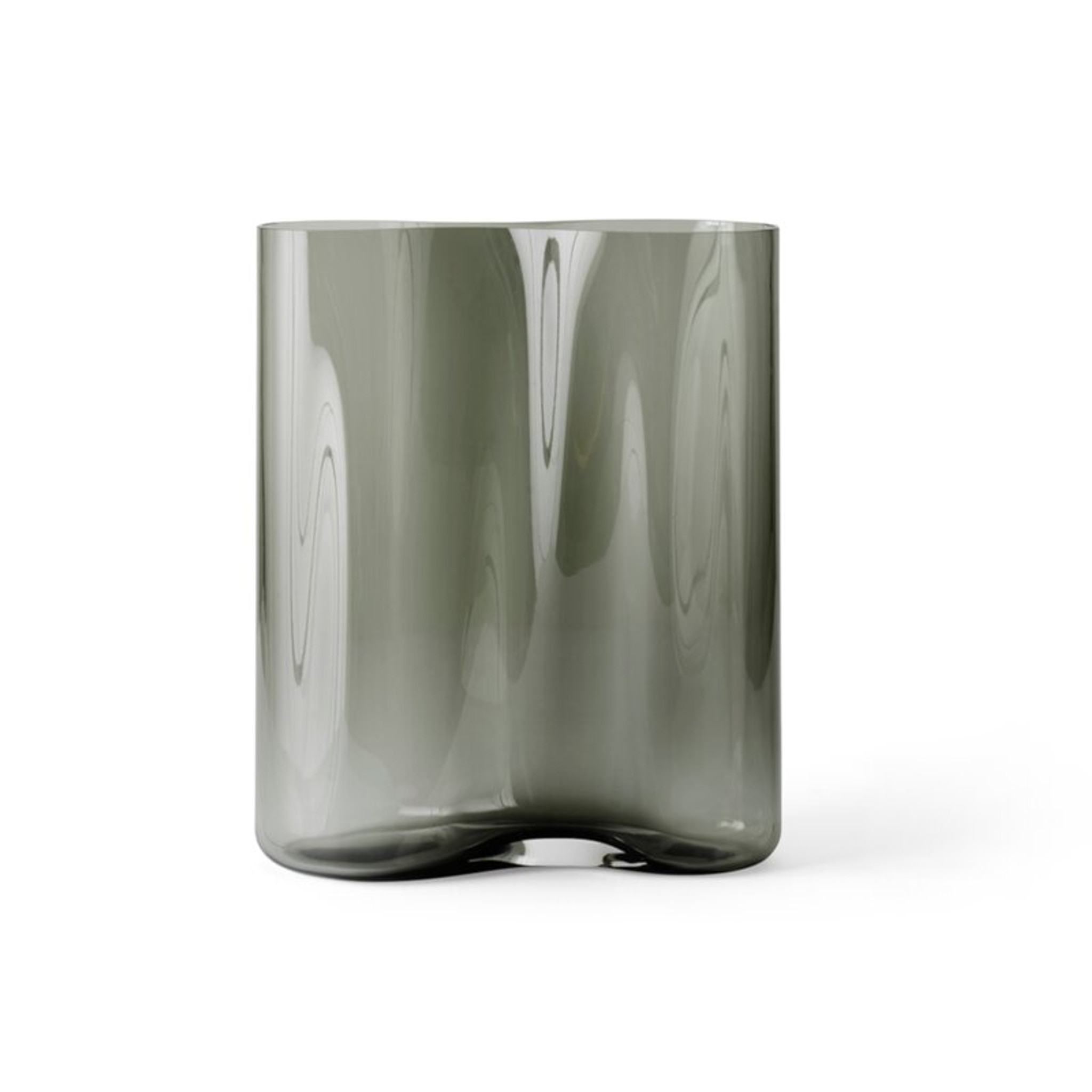 modern grey glass ripple wave pattern Aer Vases Smoked Glass Table Vase menu