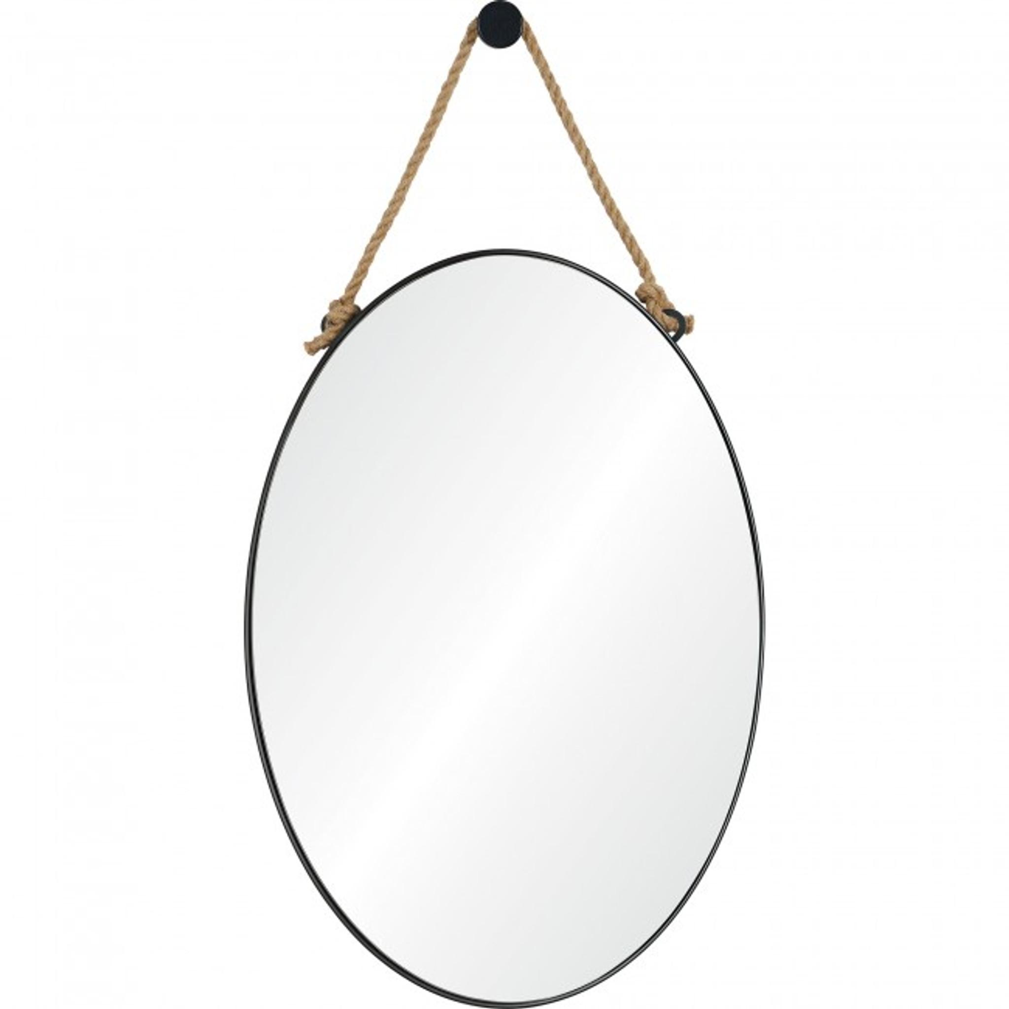 renwil parbuckle black metal modern oval wall mirror hemp rope hanging