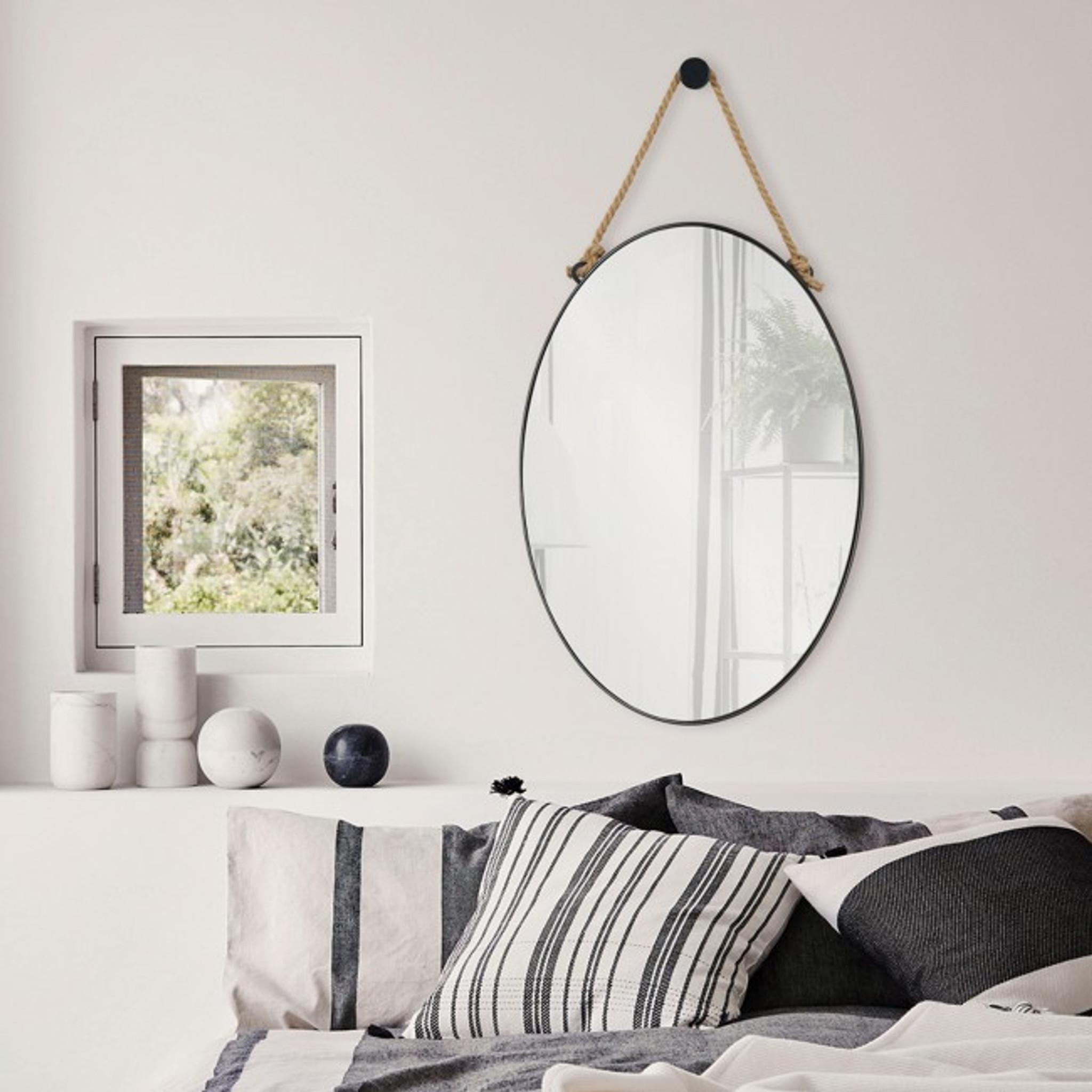 renwil parbuckle black metal modern oval wall mirror hemp rope hanging industrial style