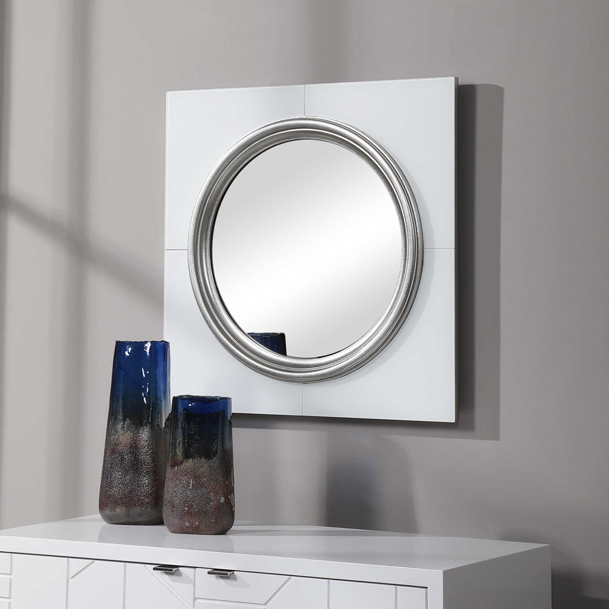 uttermost Gouveia white glass silver bullseye round modern wall mirror 24 inch