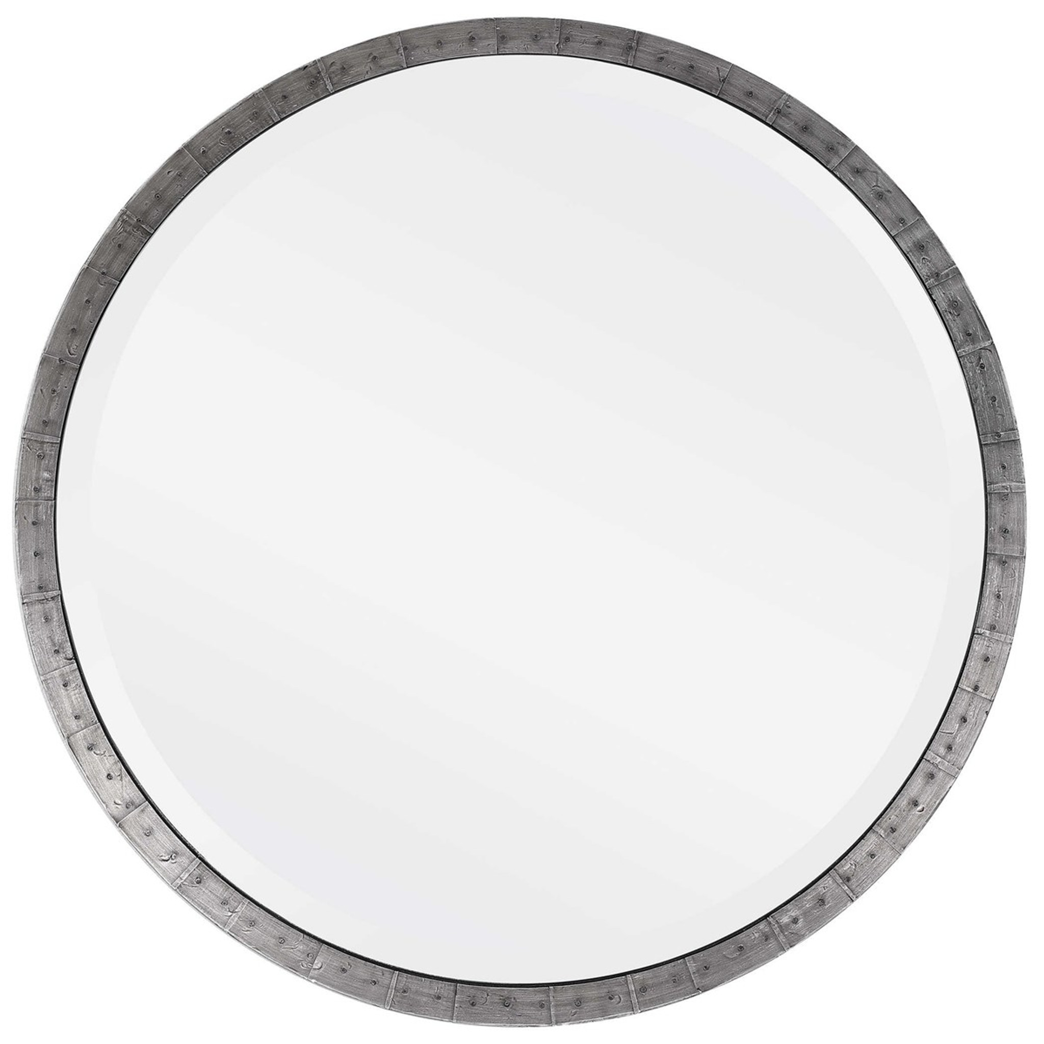 uttermost bartow steel grey industrial style rustic round wall mirror