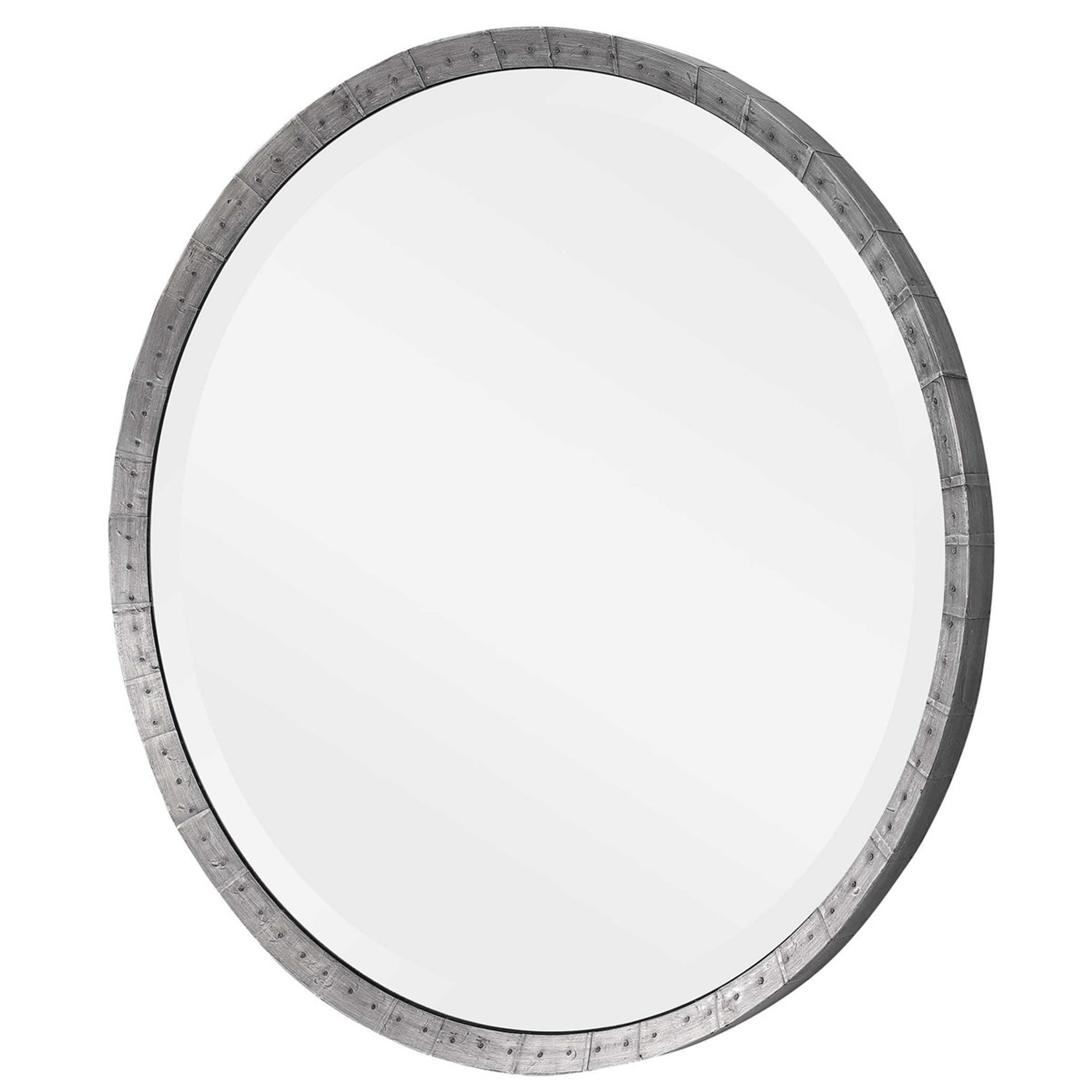 uttermost bartow steel grey industrial style rustic round wall mirror nailheads