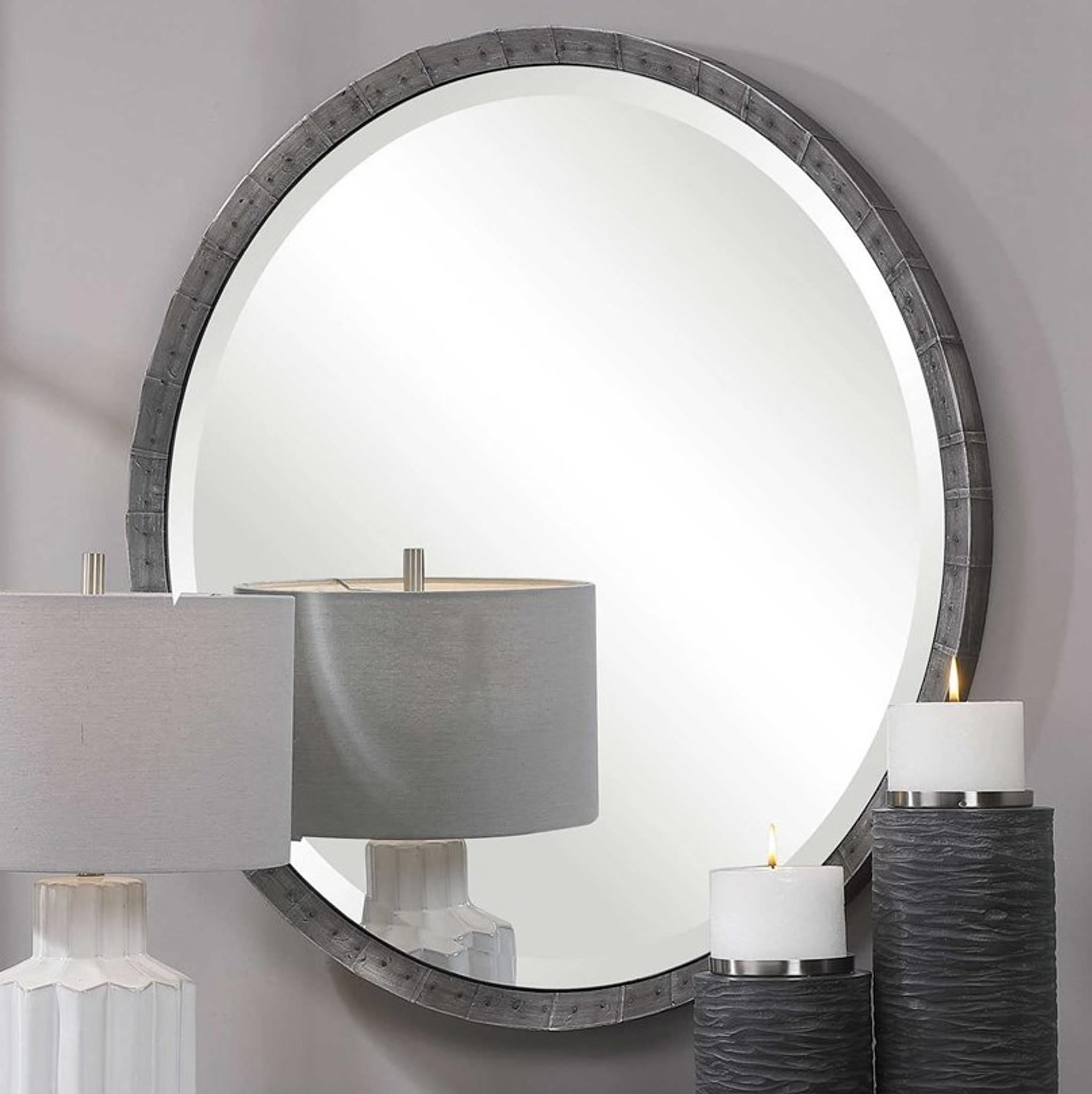 uttermost bartow steel grey industrial style rustic round wall mirror farm