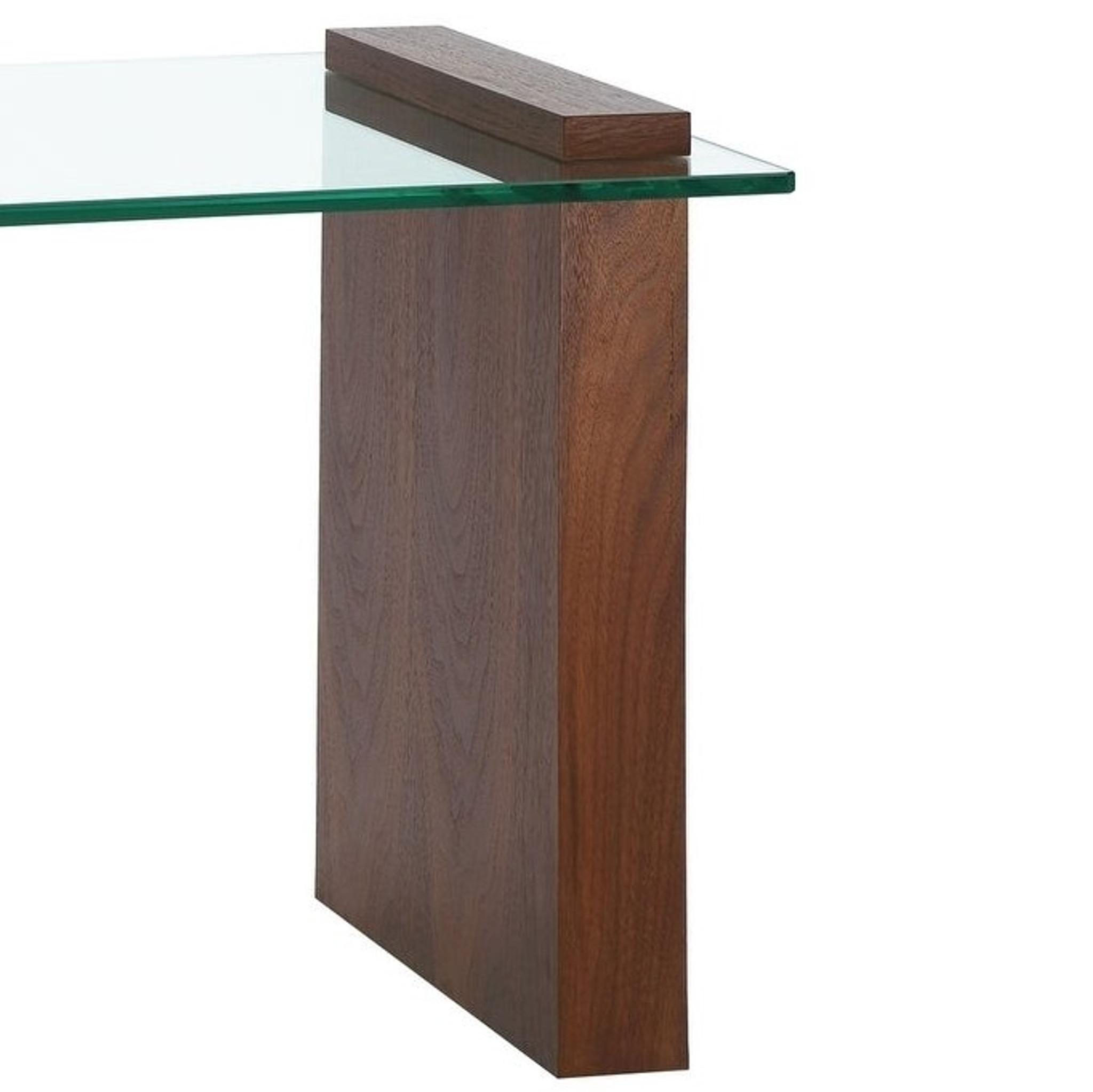 Buono Walnut Veneer W 1/2 Clear Glass console Table Casabianca Home CB-1154-END-WAL contemporary