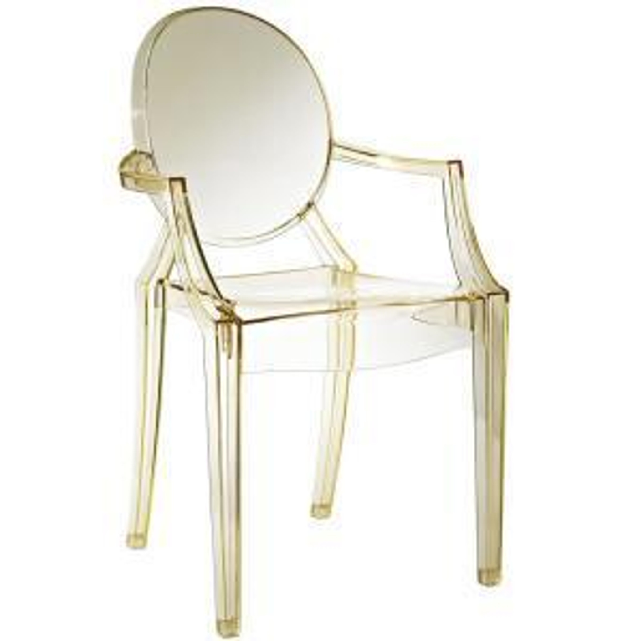 clear acrylic ghost chair in yellow gold modern stackable