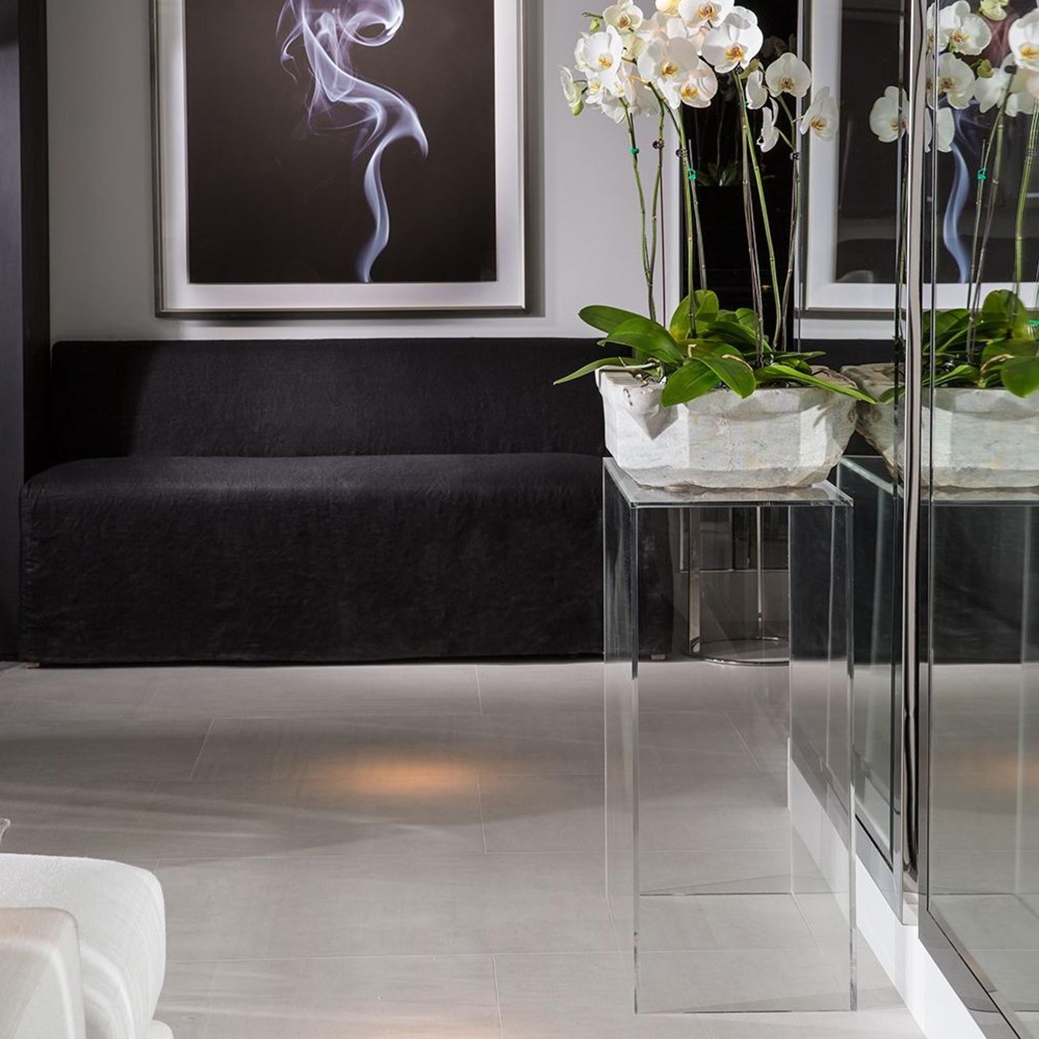 clear lucite acrylic tall modern plexiglass art sculpture pedestal stand 36