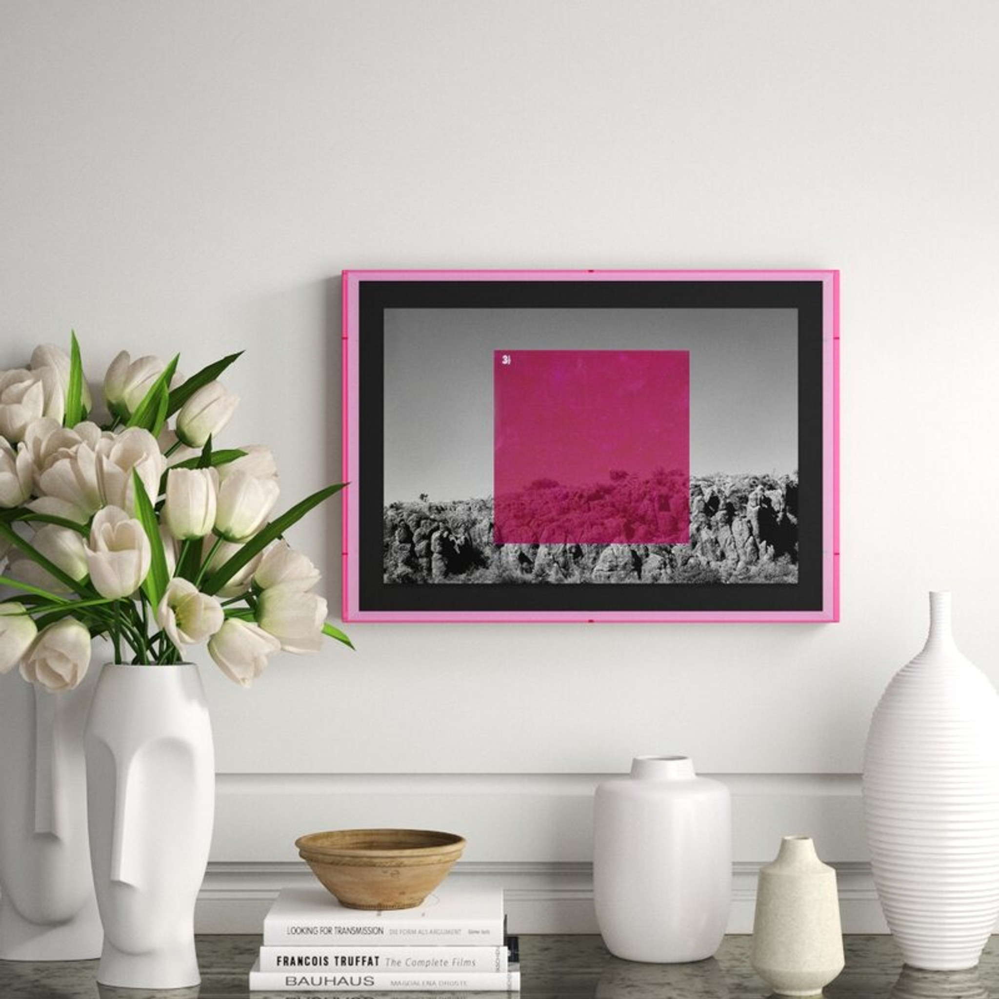 Pink on BW' Graphic Art Four Hands Art Studio modern black white photography lucite frame