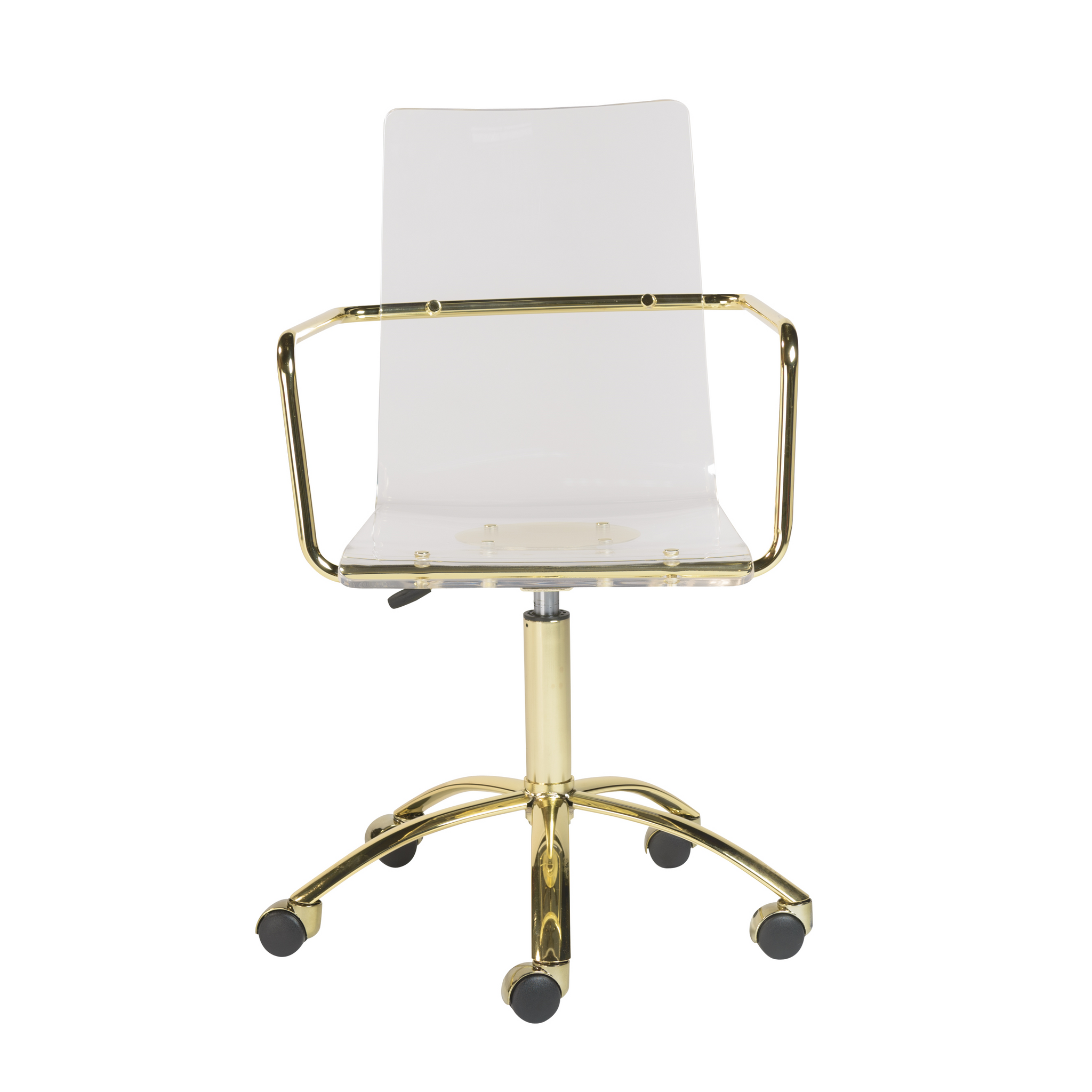 Clear Desk Chair With Gold Metal Clear Home Design