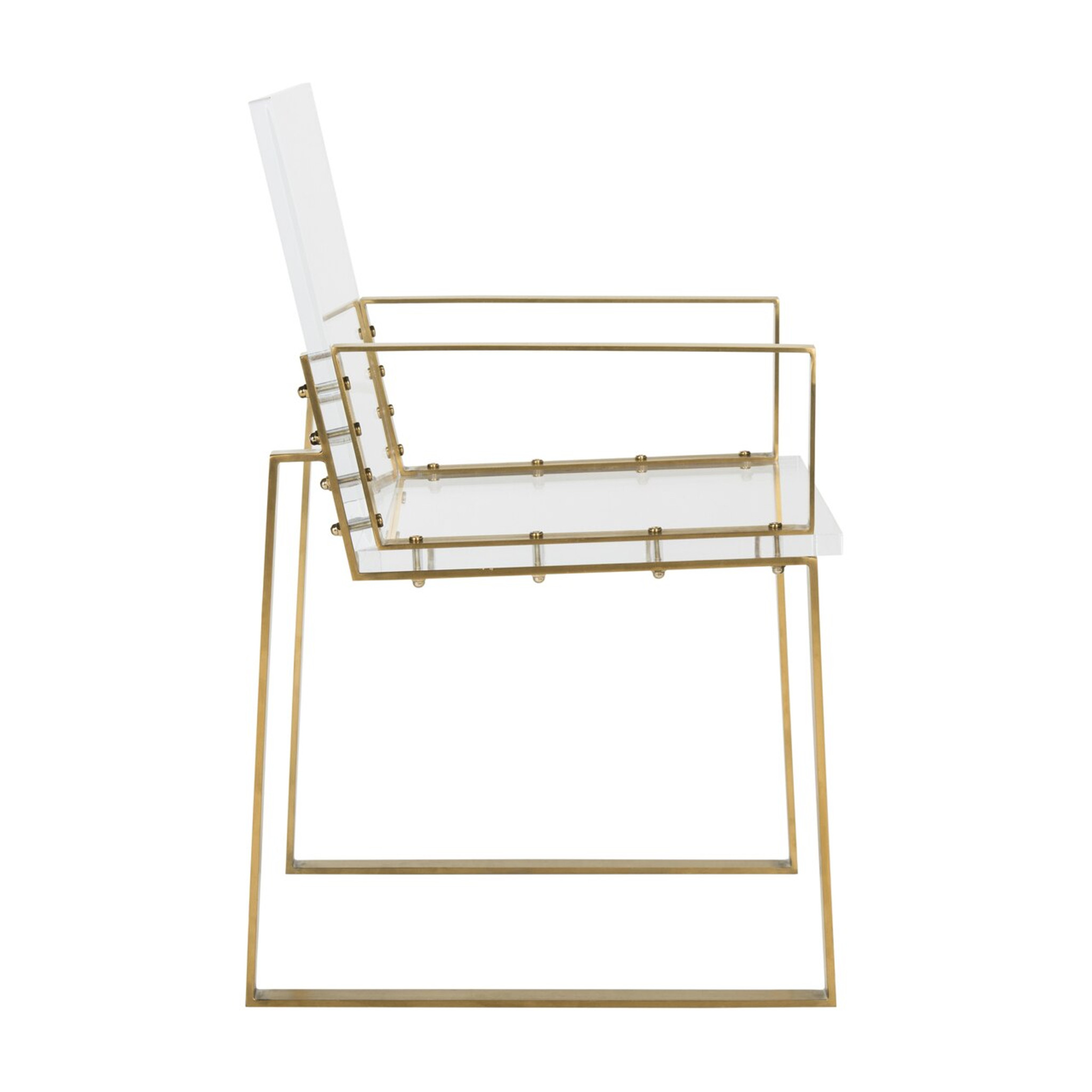 clear acrylic lucite campaign style dining chair office chair desk chair safavieh Langston armchair