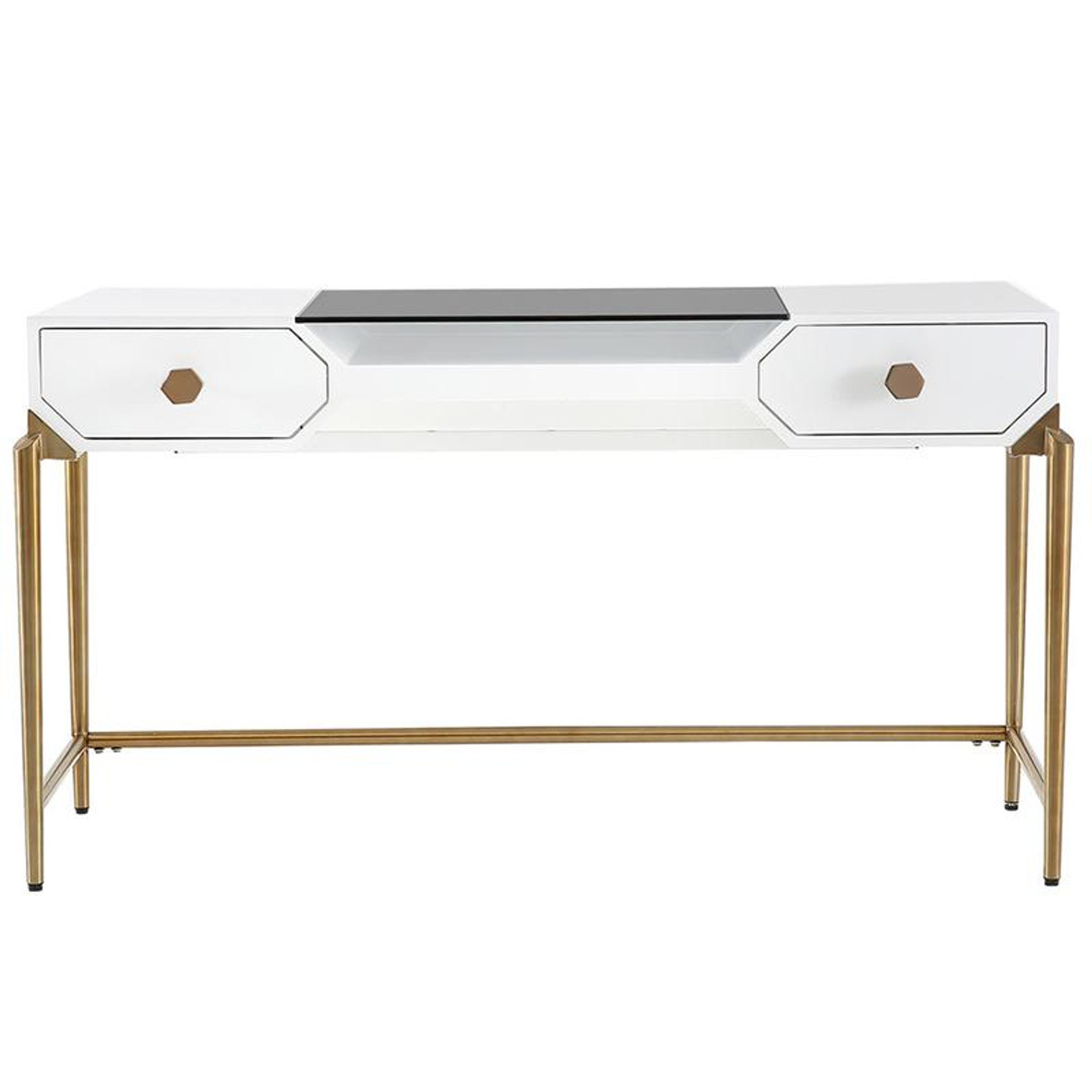 White And Black Modern Desk With Gold Legs Clear Home Design
