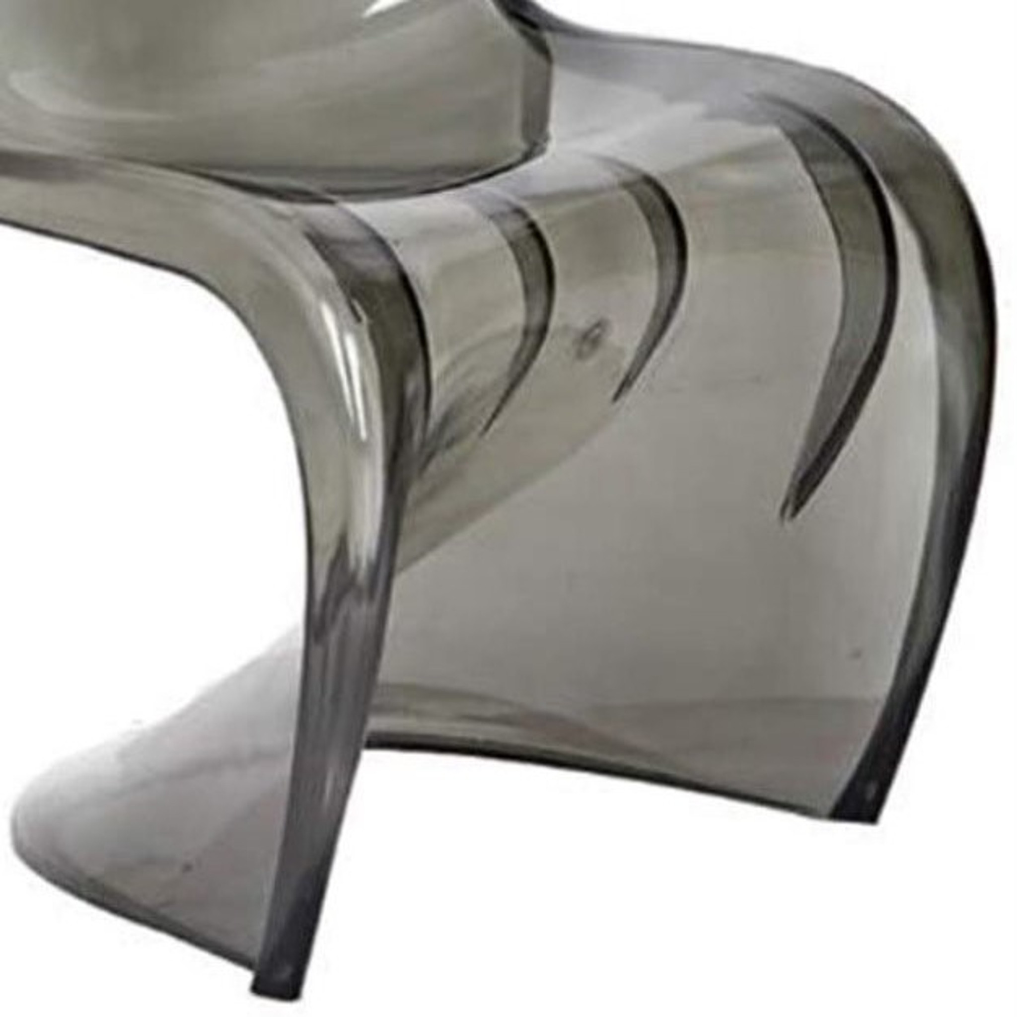 sheer transparent grey acrylic lucite s shape dining office desk side chair