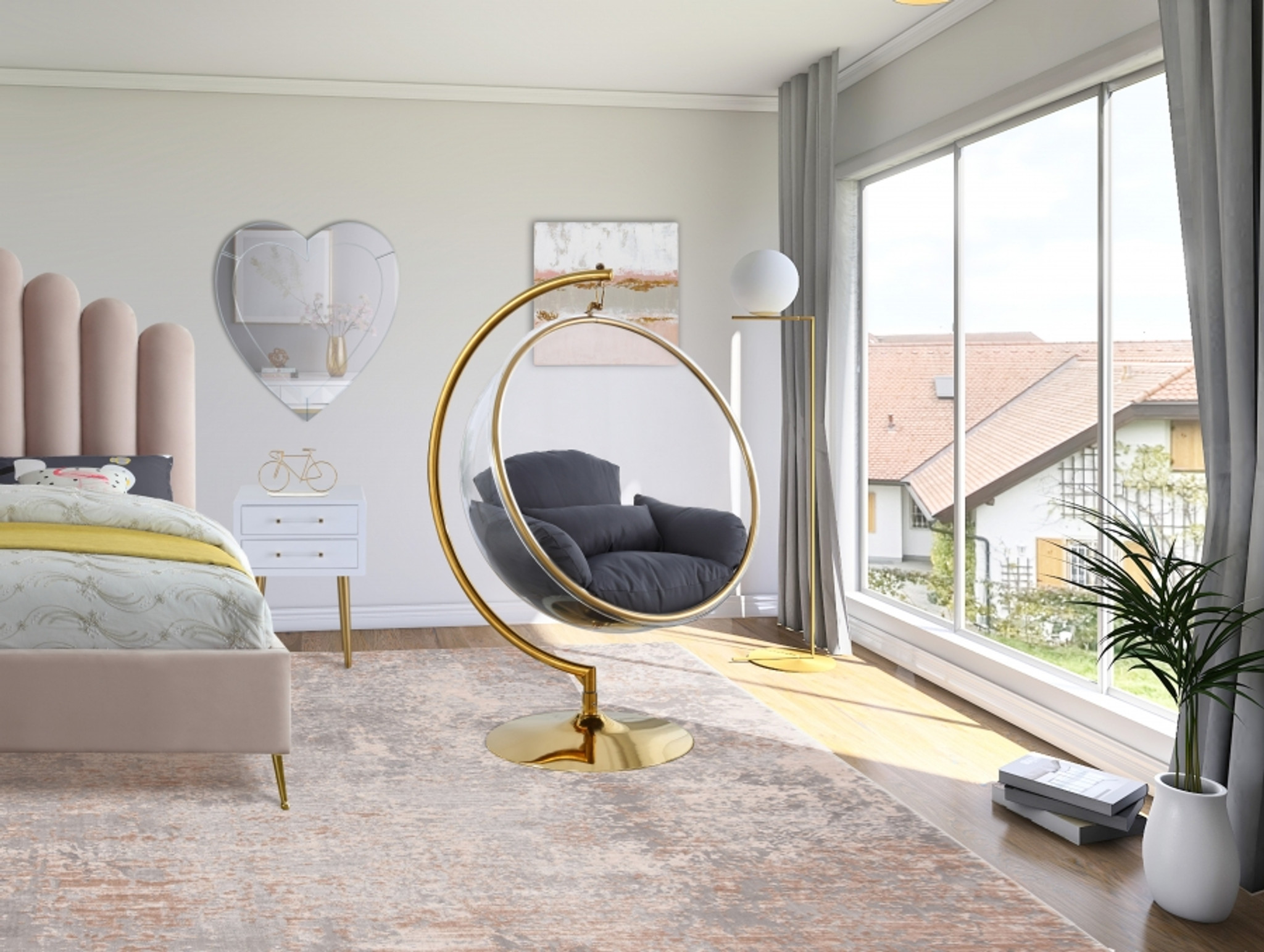 gold standing bubble chair grey cushion meridian grey luna acrylic accent chair