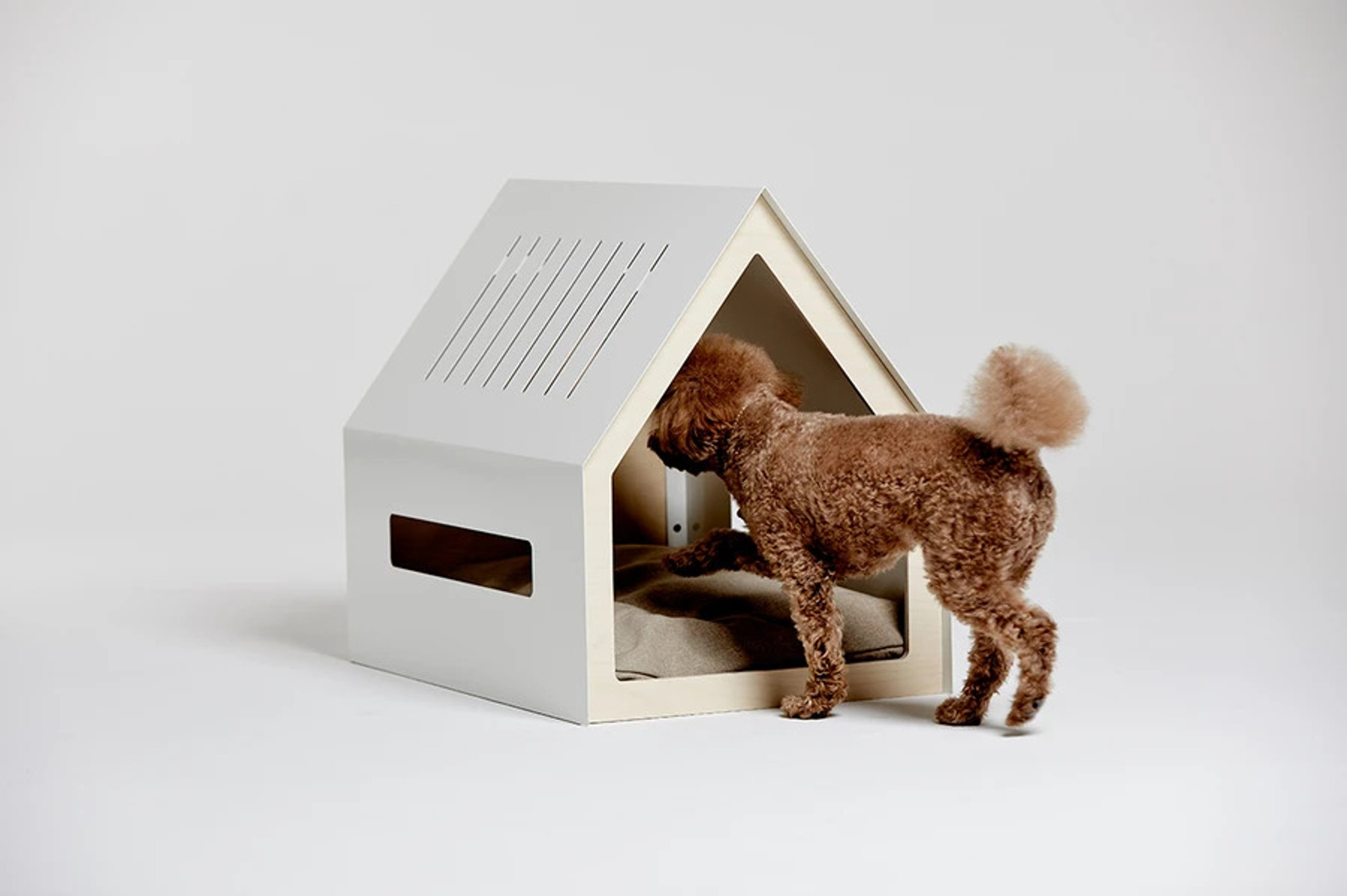 modern metal white indoor dog house pet bed cushion windows porvoo