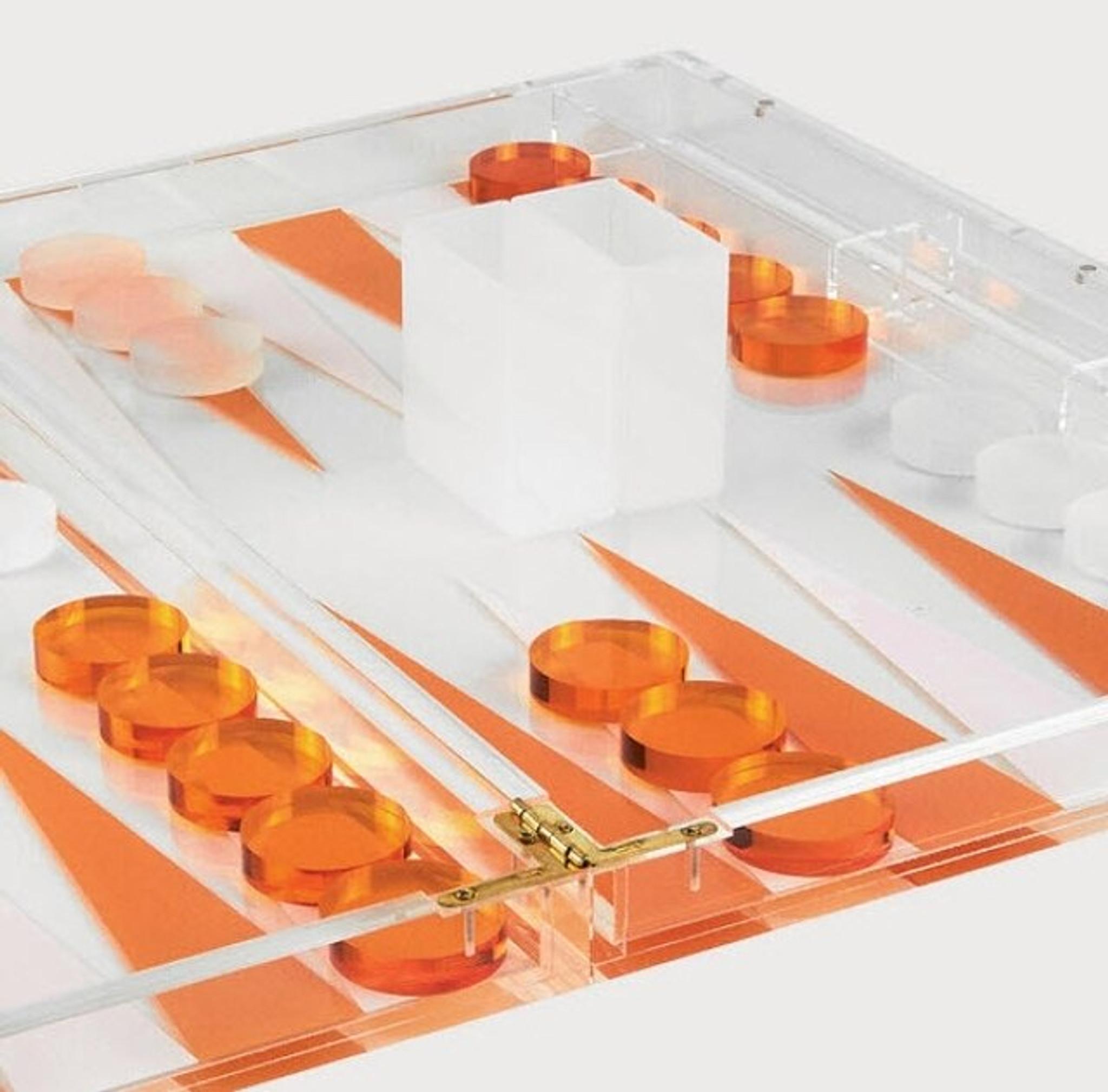 tizo color lucite game clear backgammon set acrylic orange