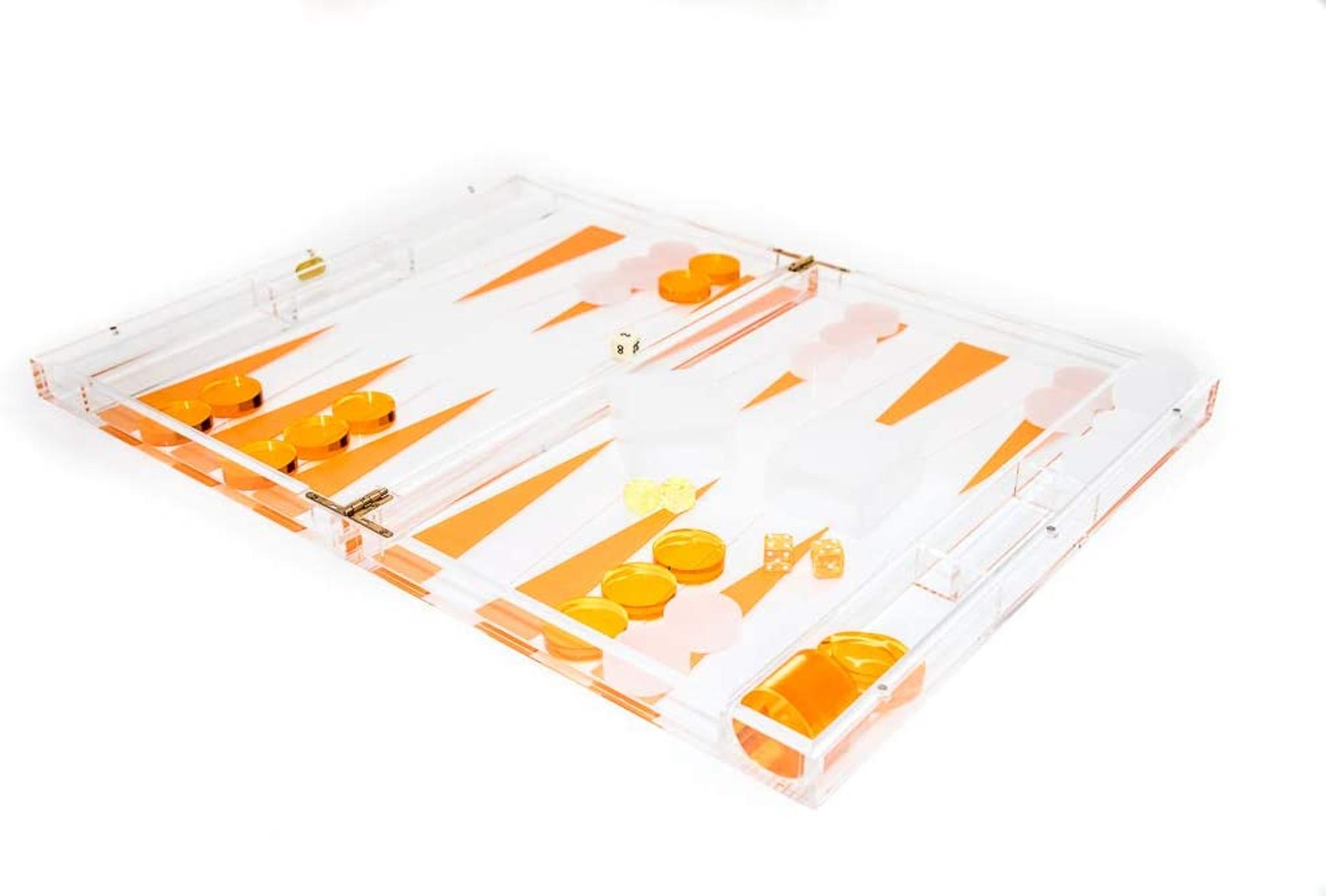 tizo orange lucite clear acrylic backgammon set luxury designer modern game set