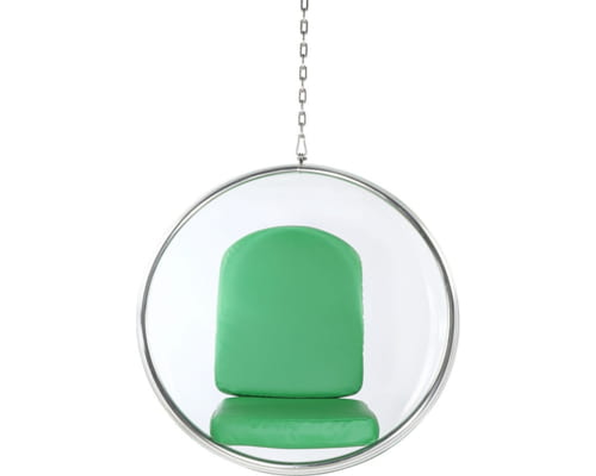 clearhomedesign.com clear-bubble-chair-with-green-cushion-chrome-chain