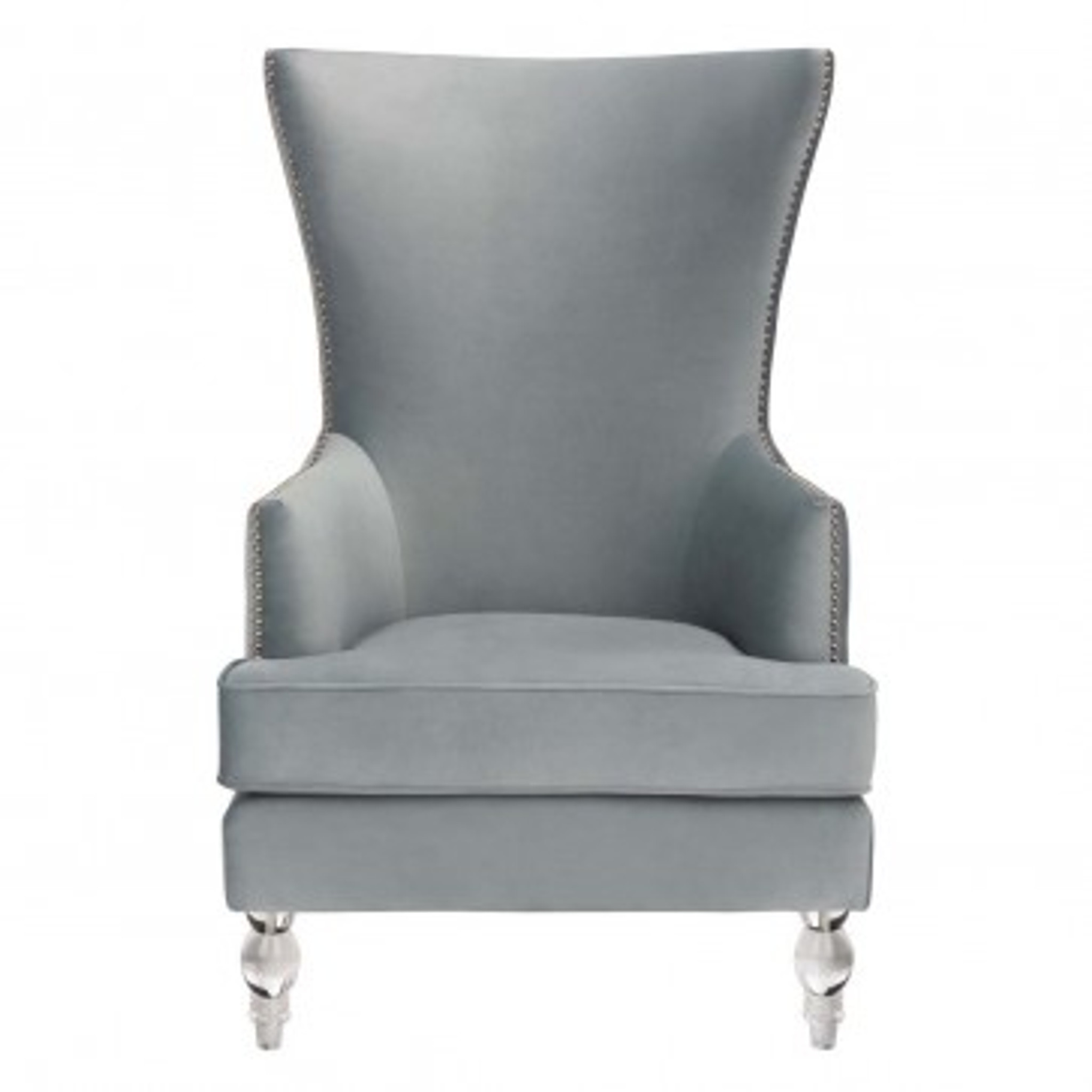 clear acrylic lucite leg tall back velvet wing chair silver nailheads geode
