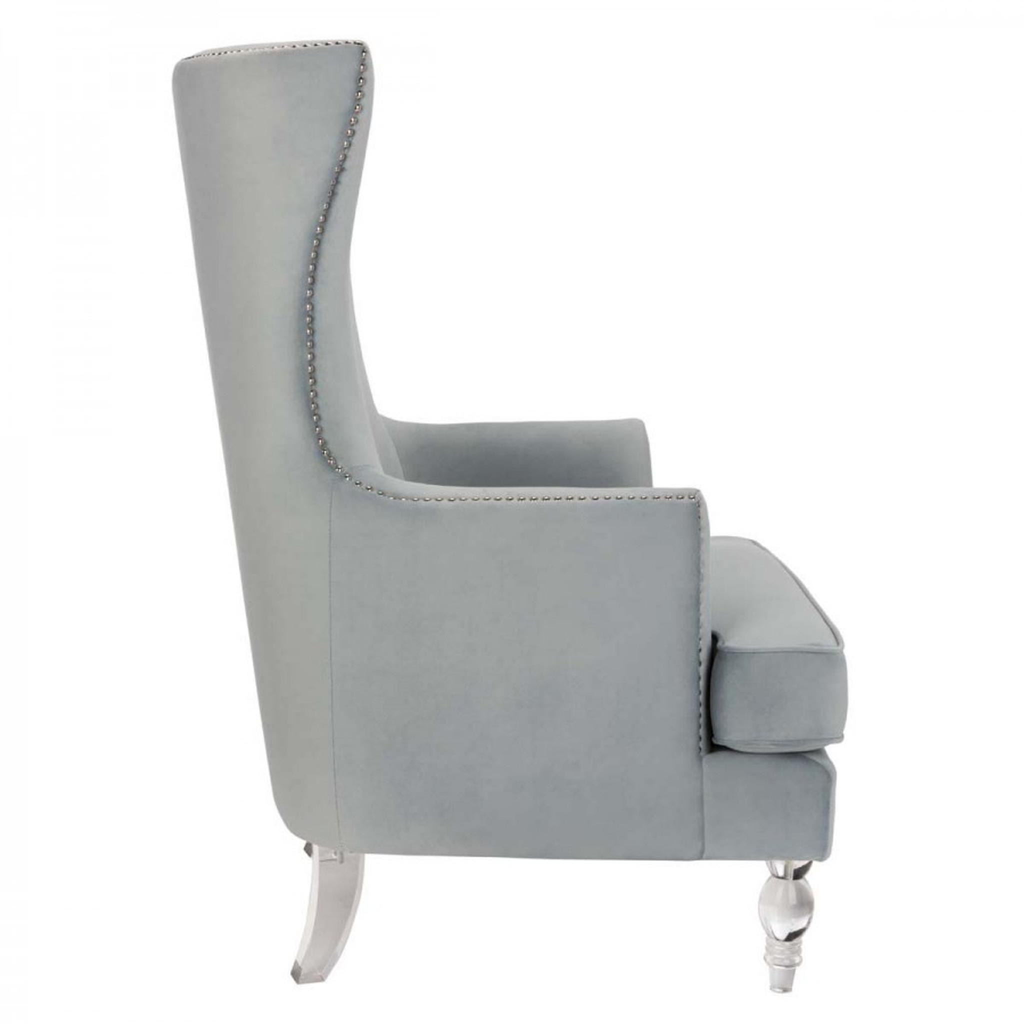 clear lucite leg silver nailheads light grey velvet high back wing chair modern decor Geode Modern Wingback Chair - Light Silver