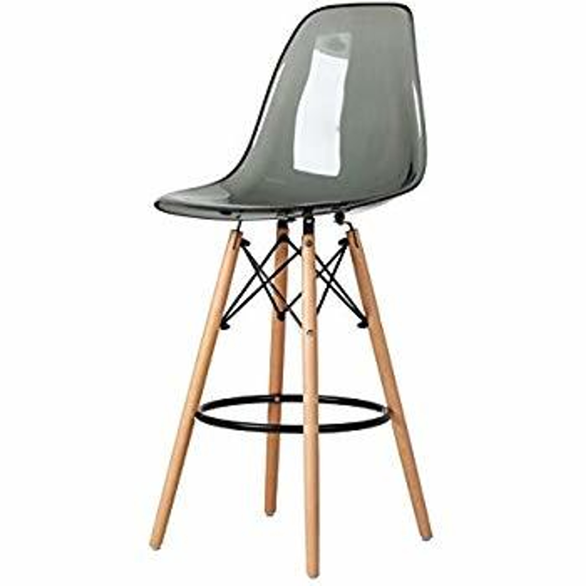 clear acrylic lucite grey eames counter stool replica with wood Eiffel legs