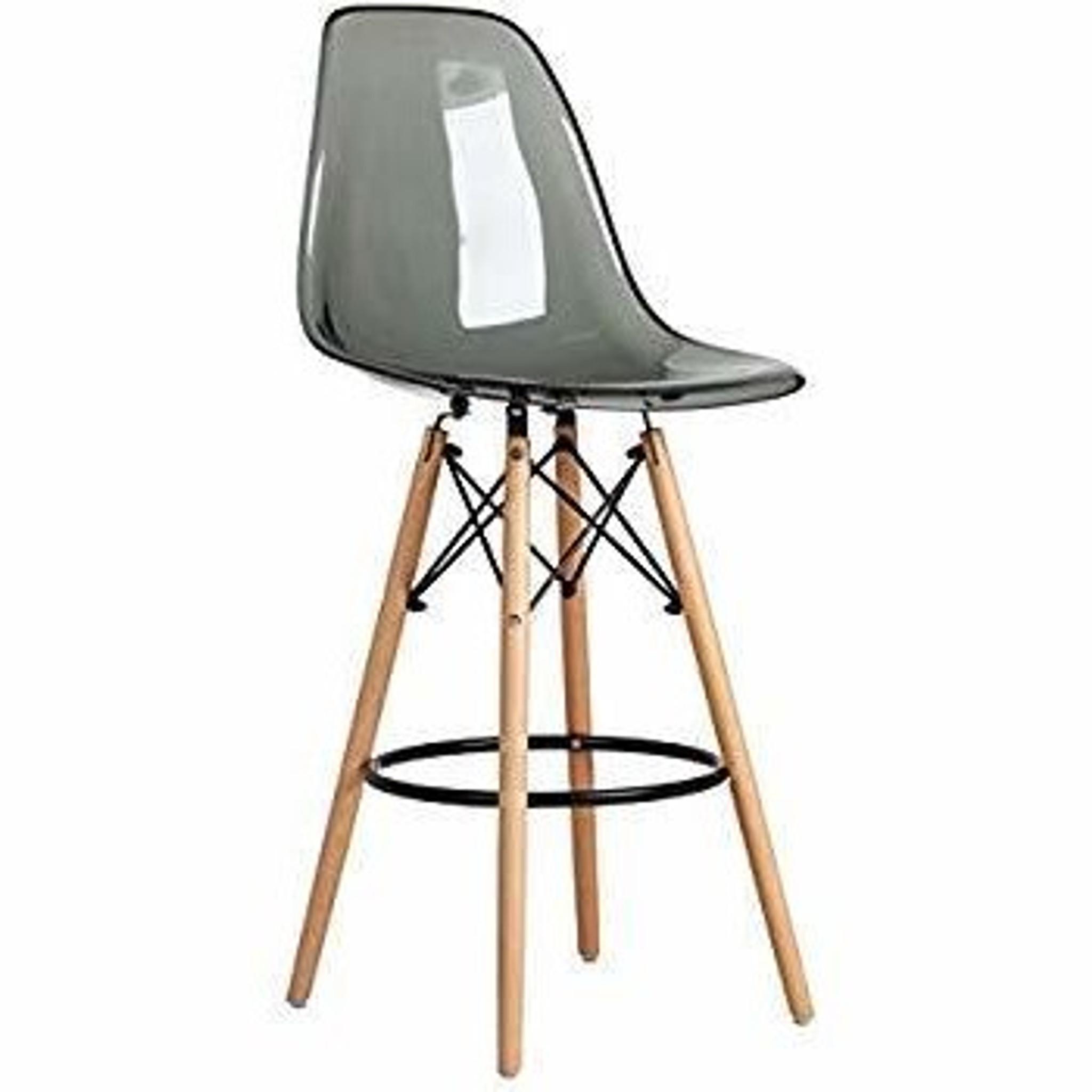 clear acrylic lucite grey eames counter stool replica with wood Eiffel legs  khazana