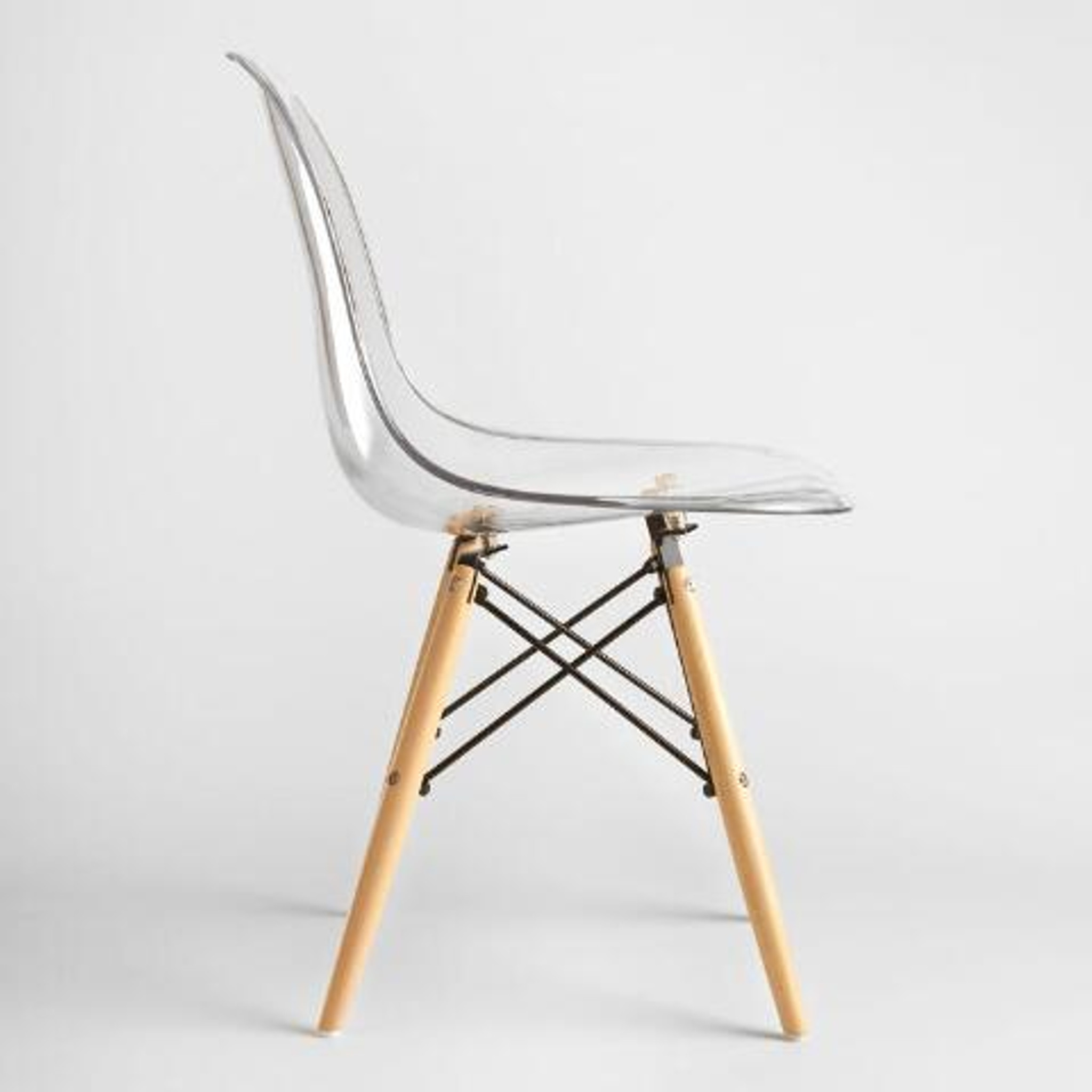 grey eames inspired clear side chair wood legs cheap