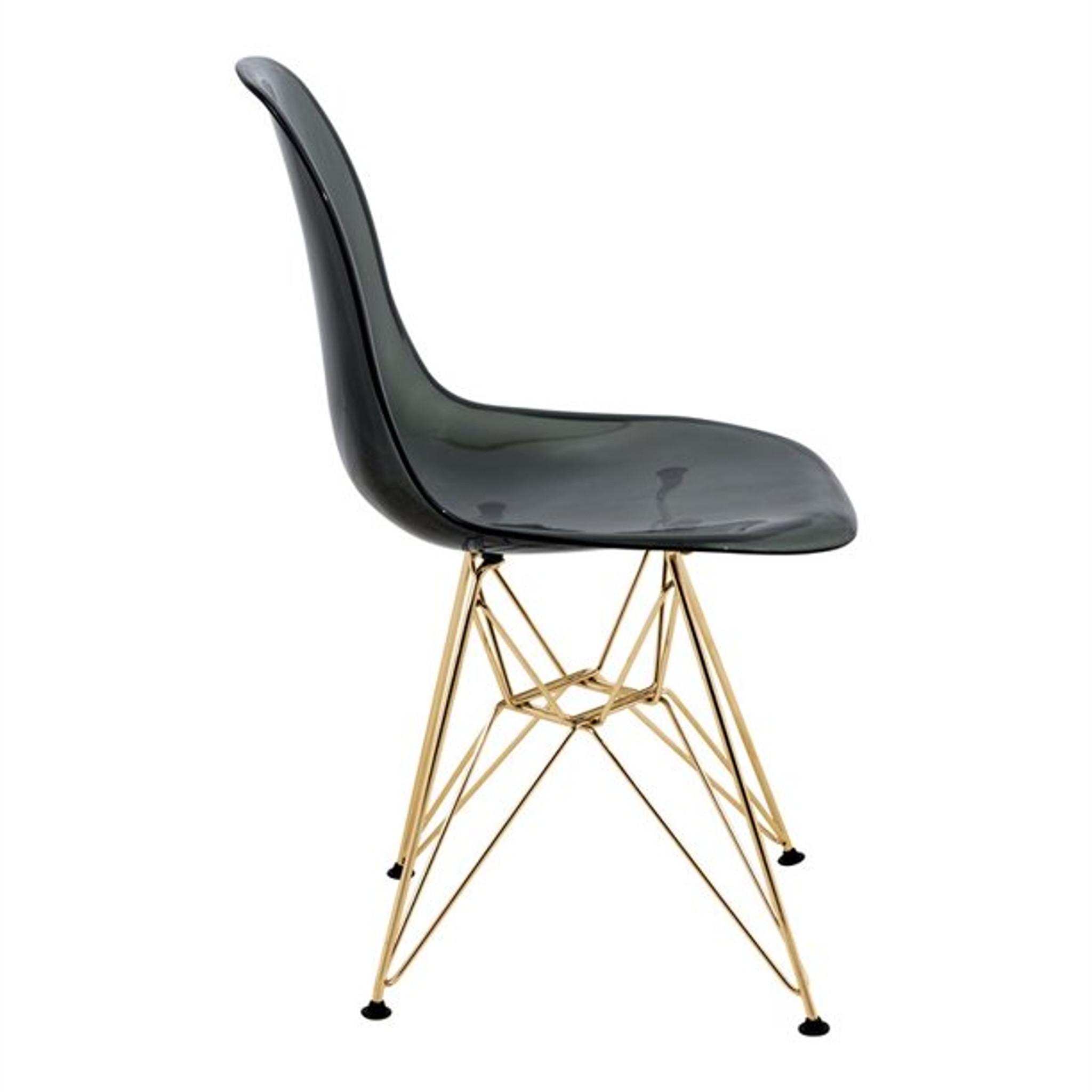 LeisureMod Cresco Modern Molded Eiffel Base Dining Side Chair-gold-Transparent Black