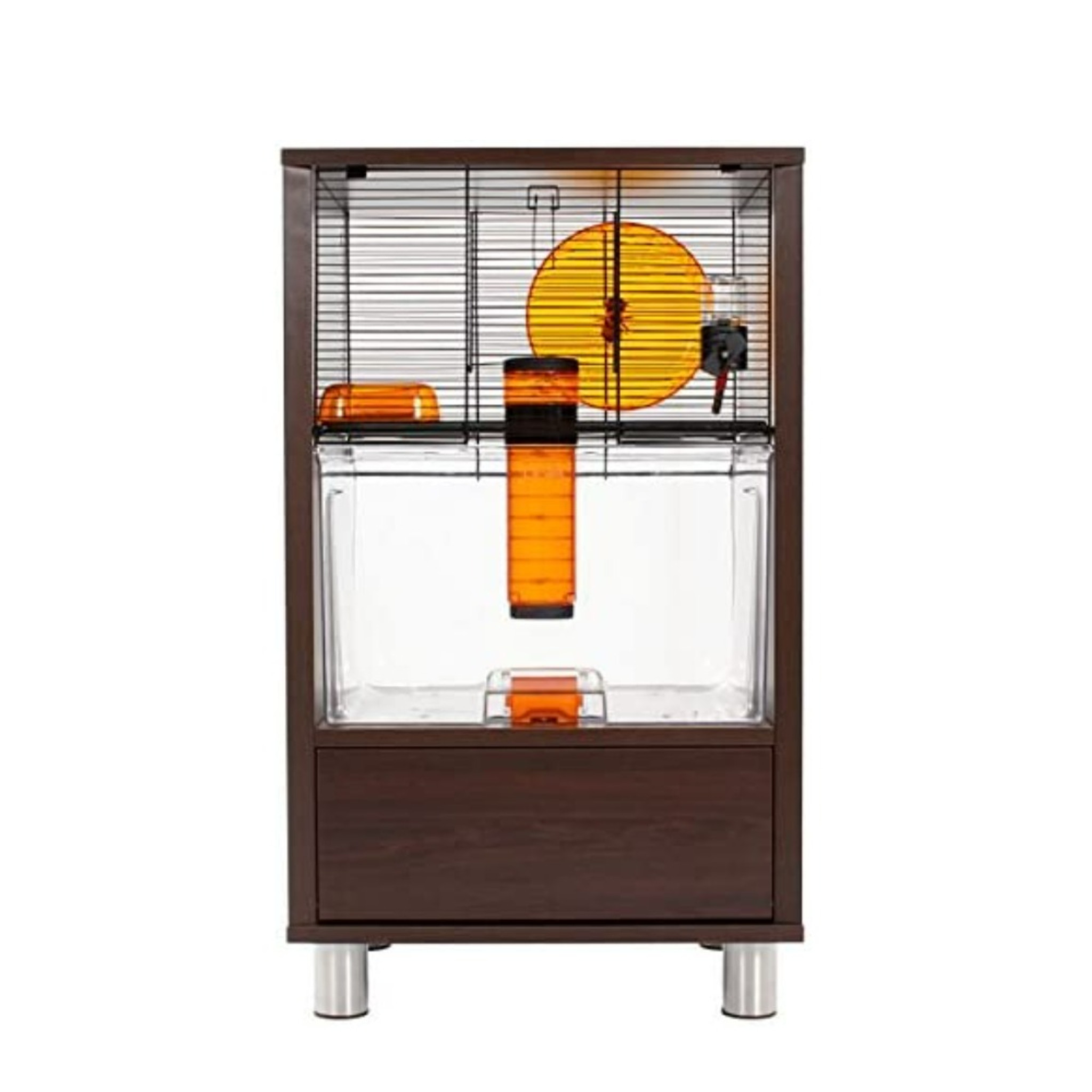 Omlet Birch Style QUTE Gerbil and Hamster Cage with Storage  white walnut