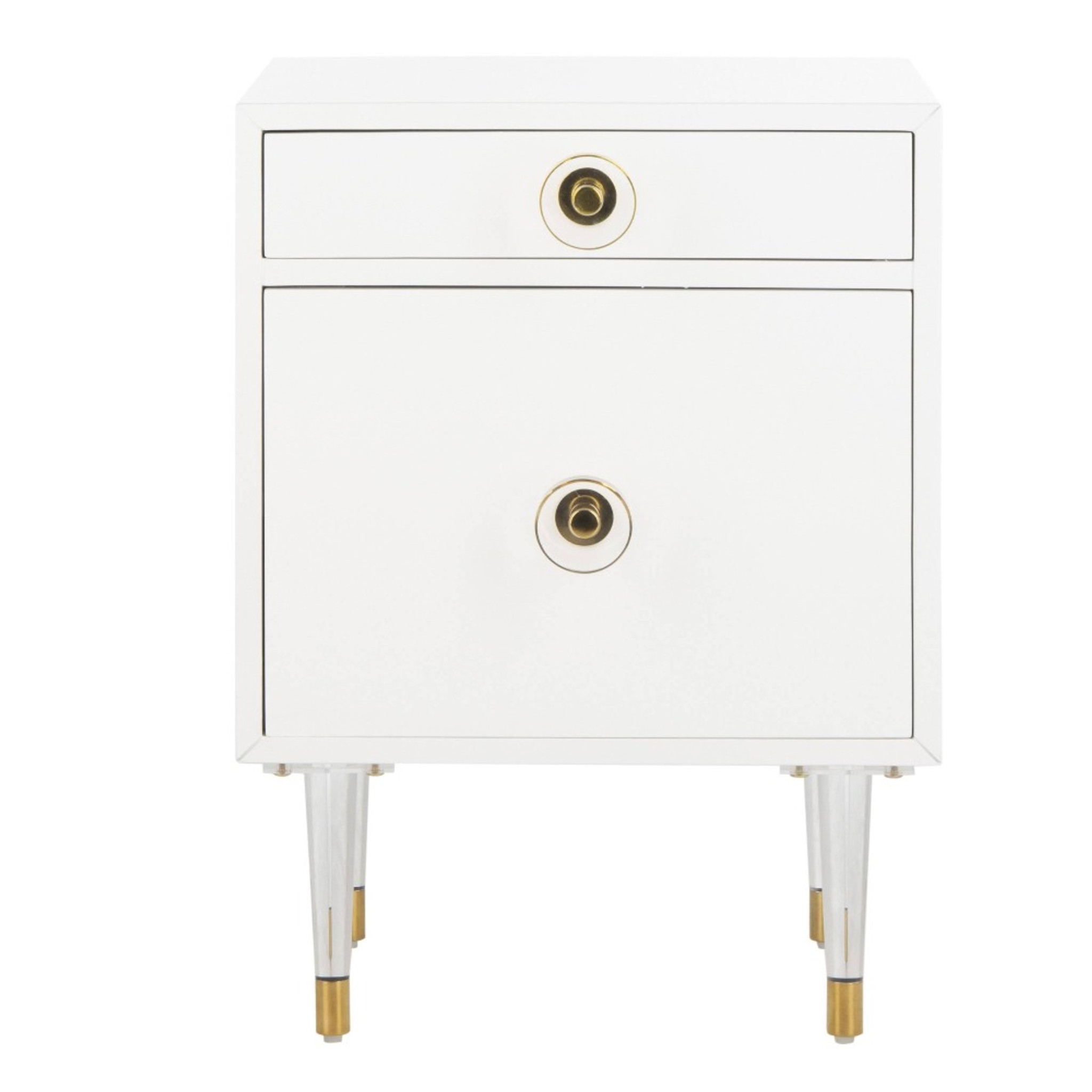 SFV3568B safavieh harry 2 drawer side table nightstand clear acrylic lucite leg white