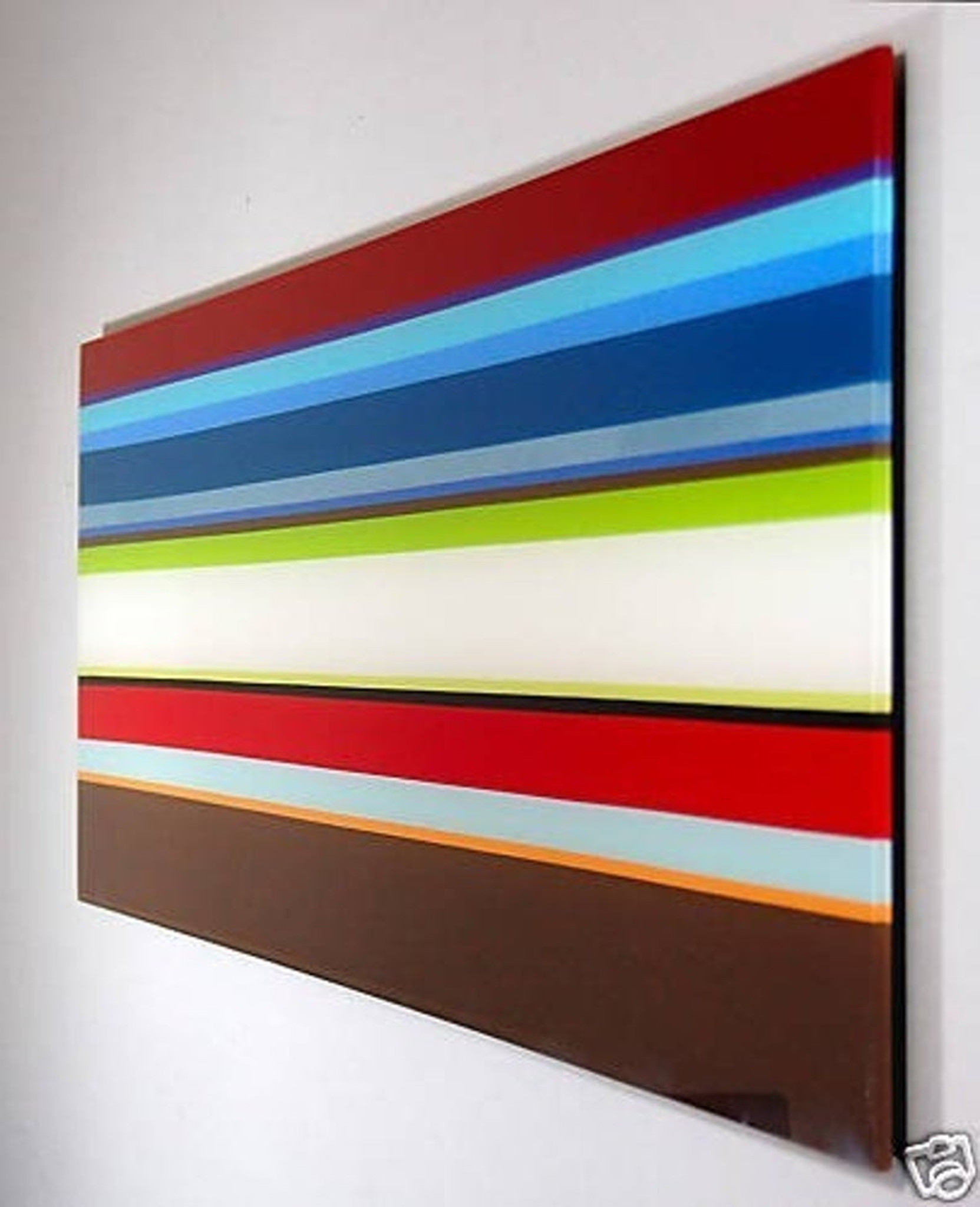 modern bold color stripe horizontal large long acrylic lucite floating wall dimensional art