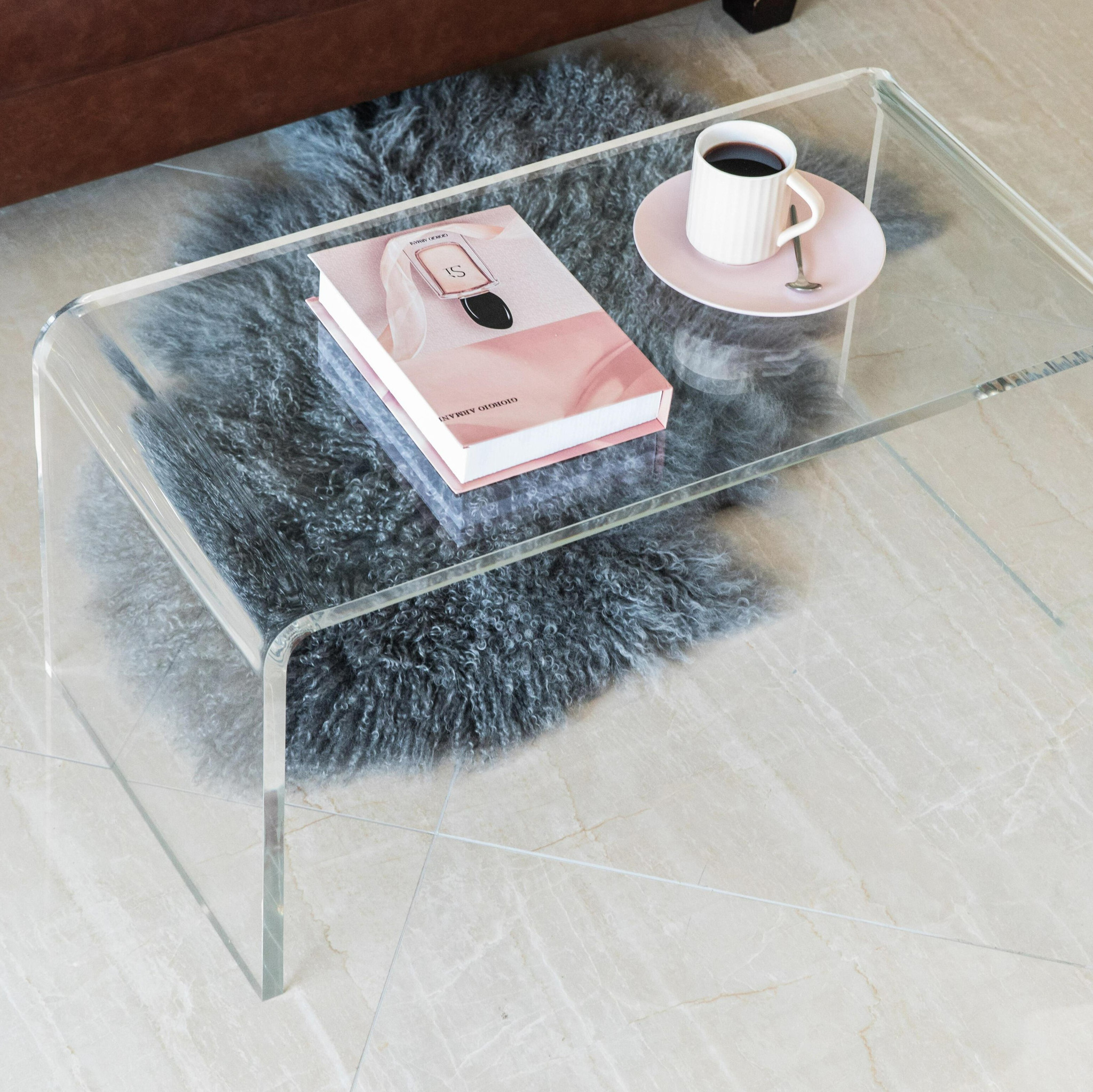 clear acrylic lucite bench retro vintage look with waterfall rounded edge shape