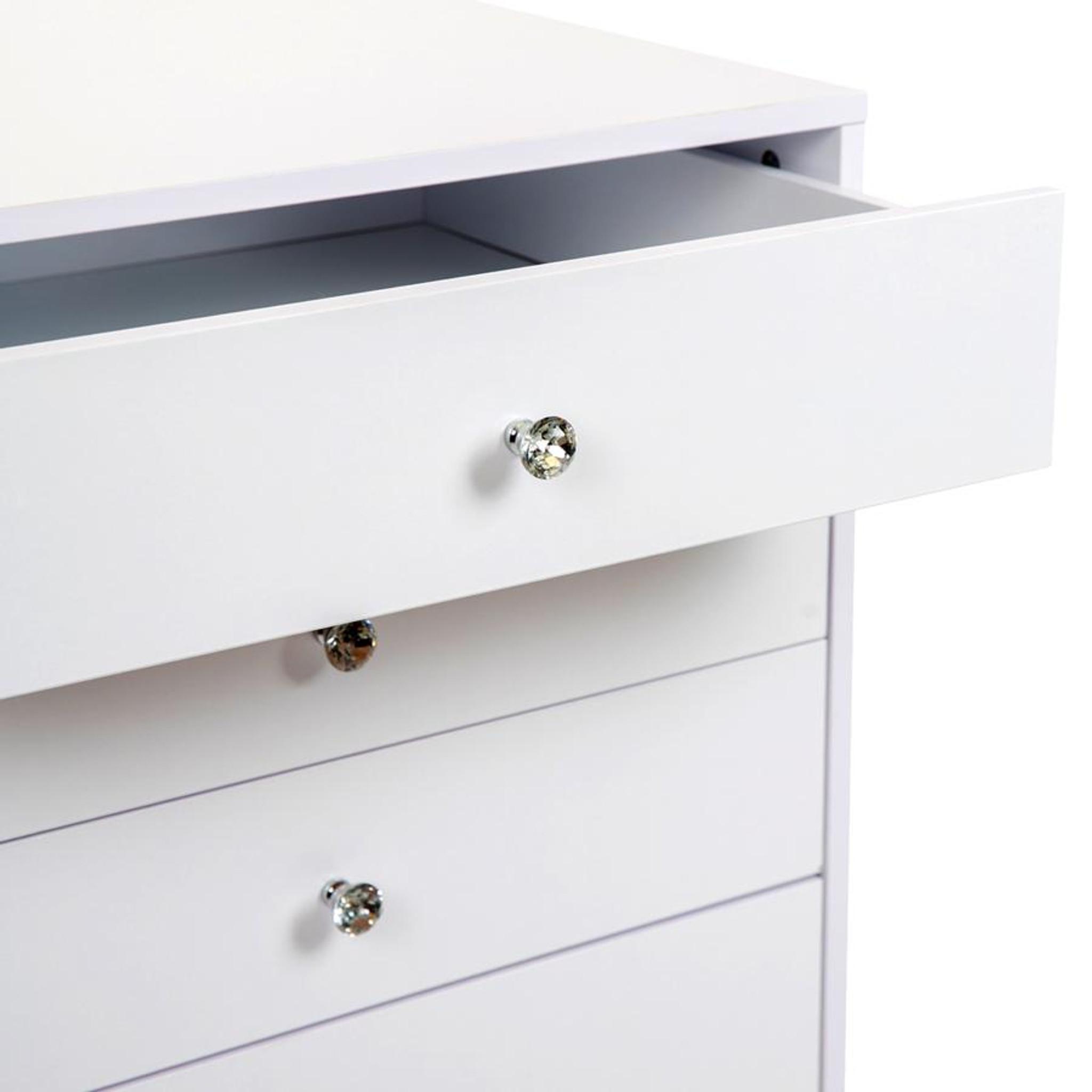 SLAYSTATION® PLUS PREMIUM VANITY TABLE WITH DRAWERS white glass top multi drawer storage vanity dressing table