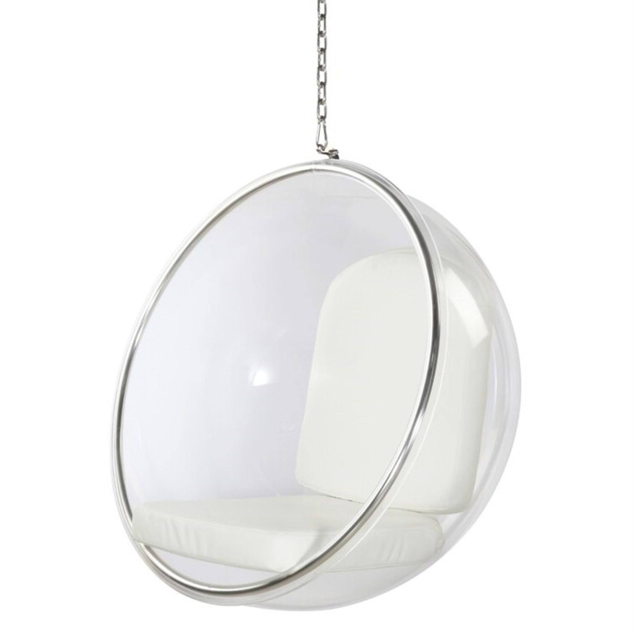 finemod  FMI1122 hanging clear bubble chair white cushion silver chain