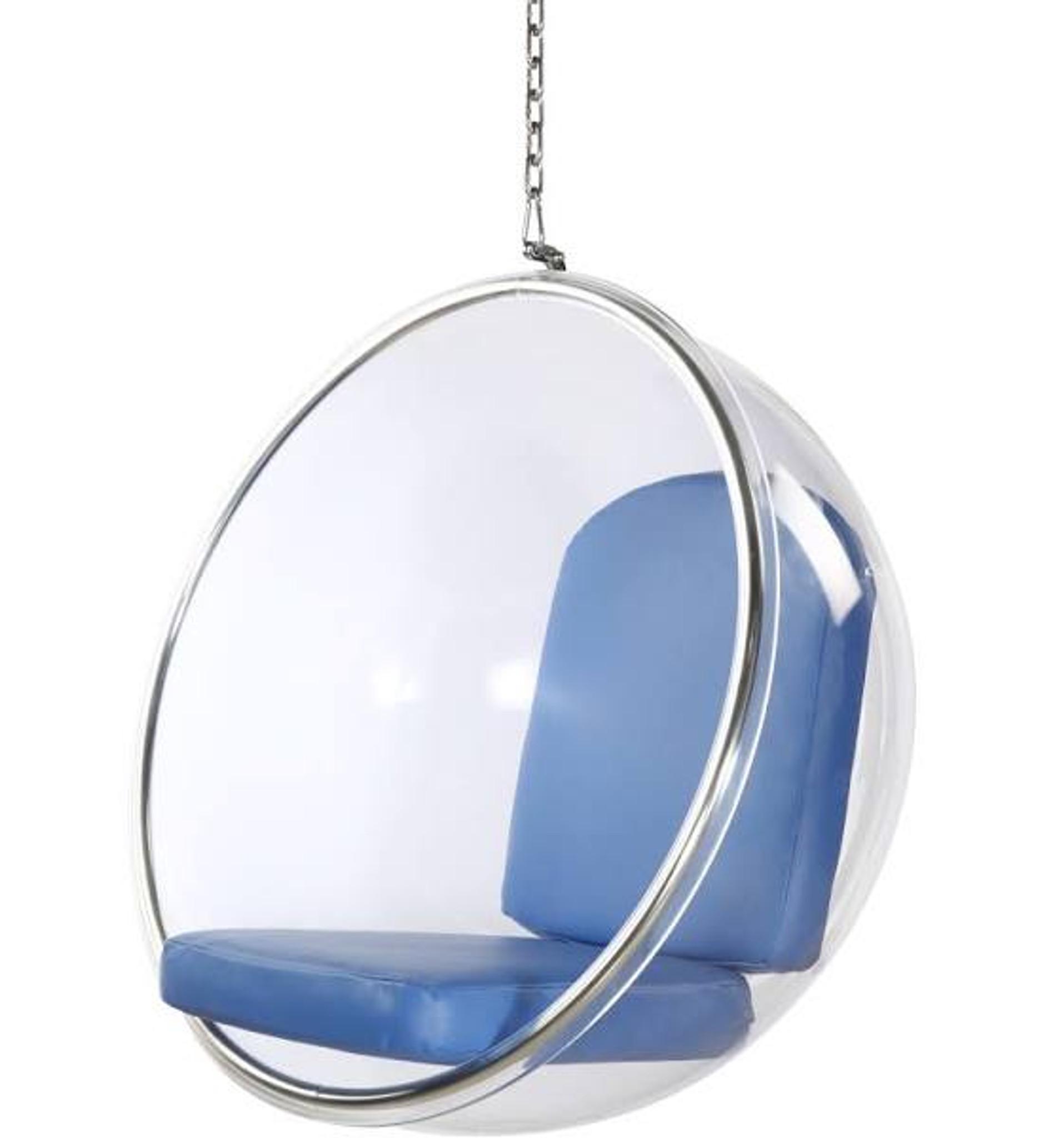 Clear Bubble Chair with Blue Cushion & Chrome Chain