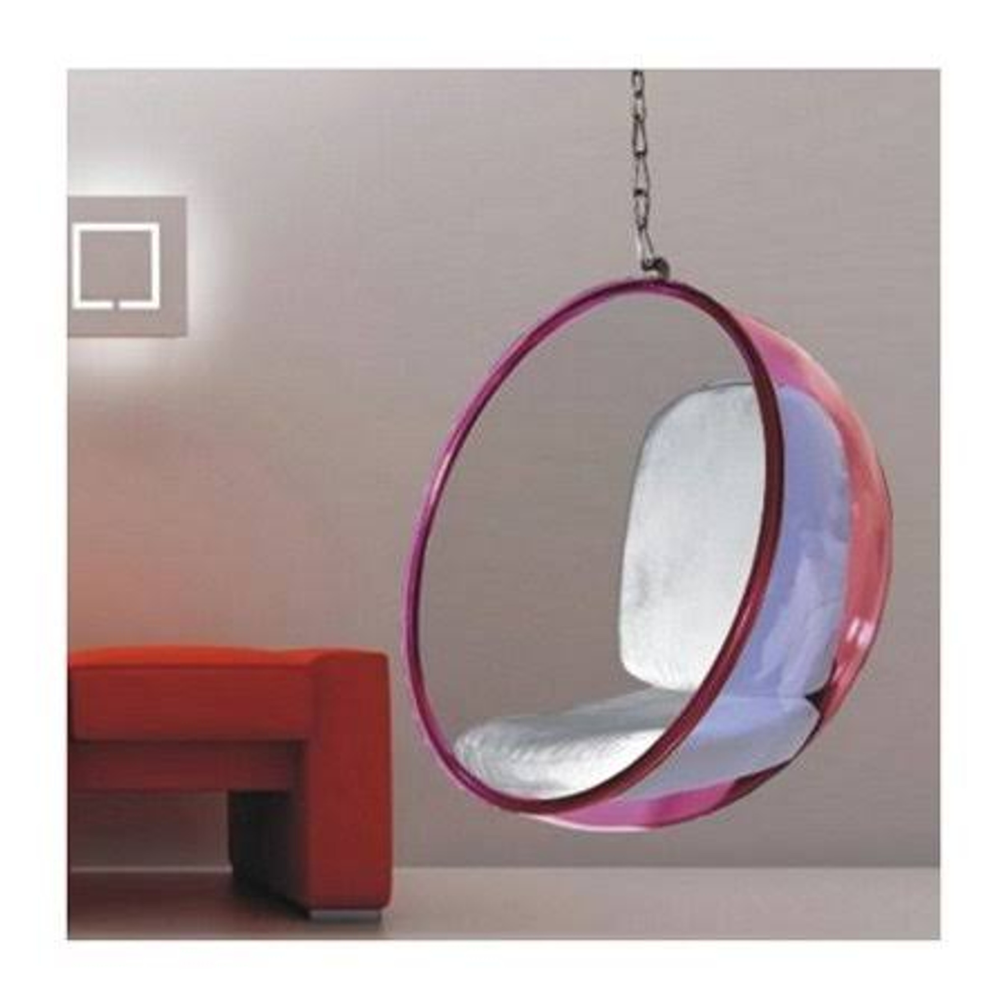finemod pink lucite acrylic plastic hanging bubble chair silver chain cushion set