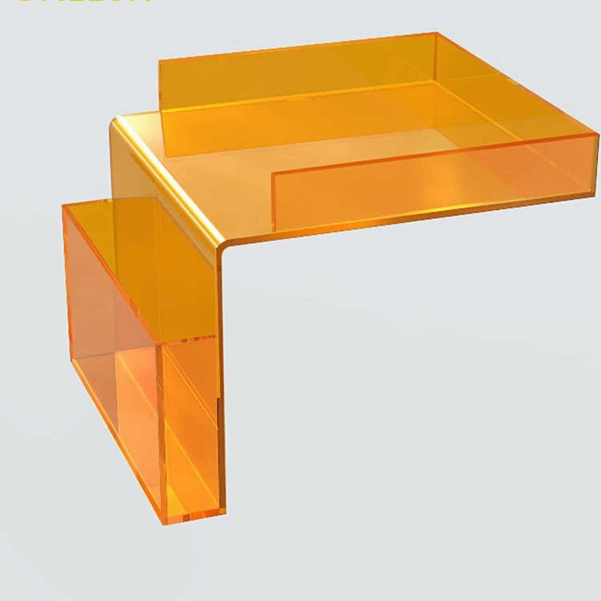 Overhang Storage Tray with Pocket clear orange acrylic lucite l shape organizer