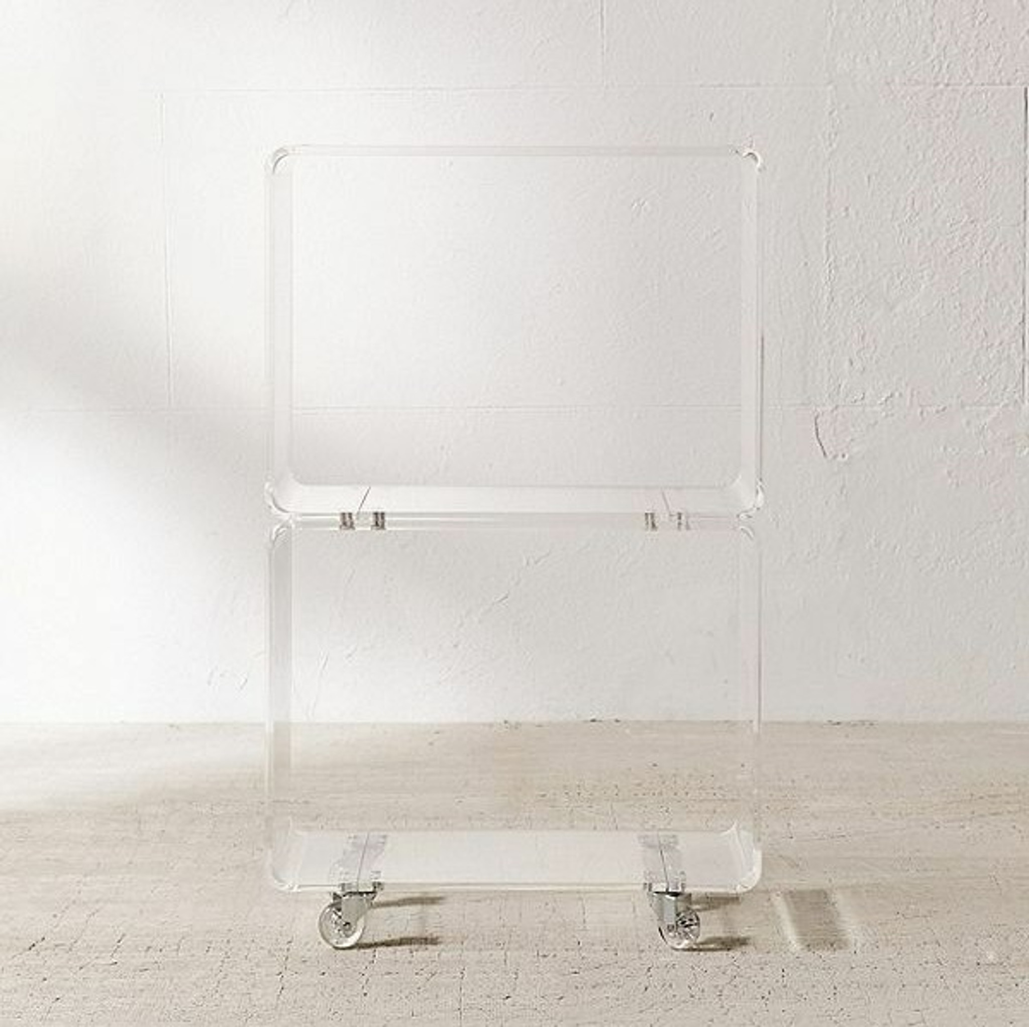 clear acrylic lucite rolling low bookcase tv media stand