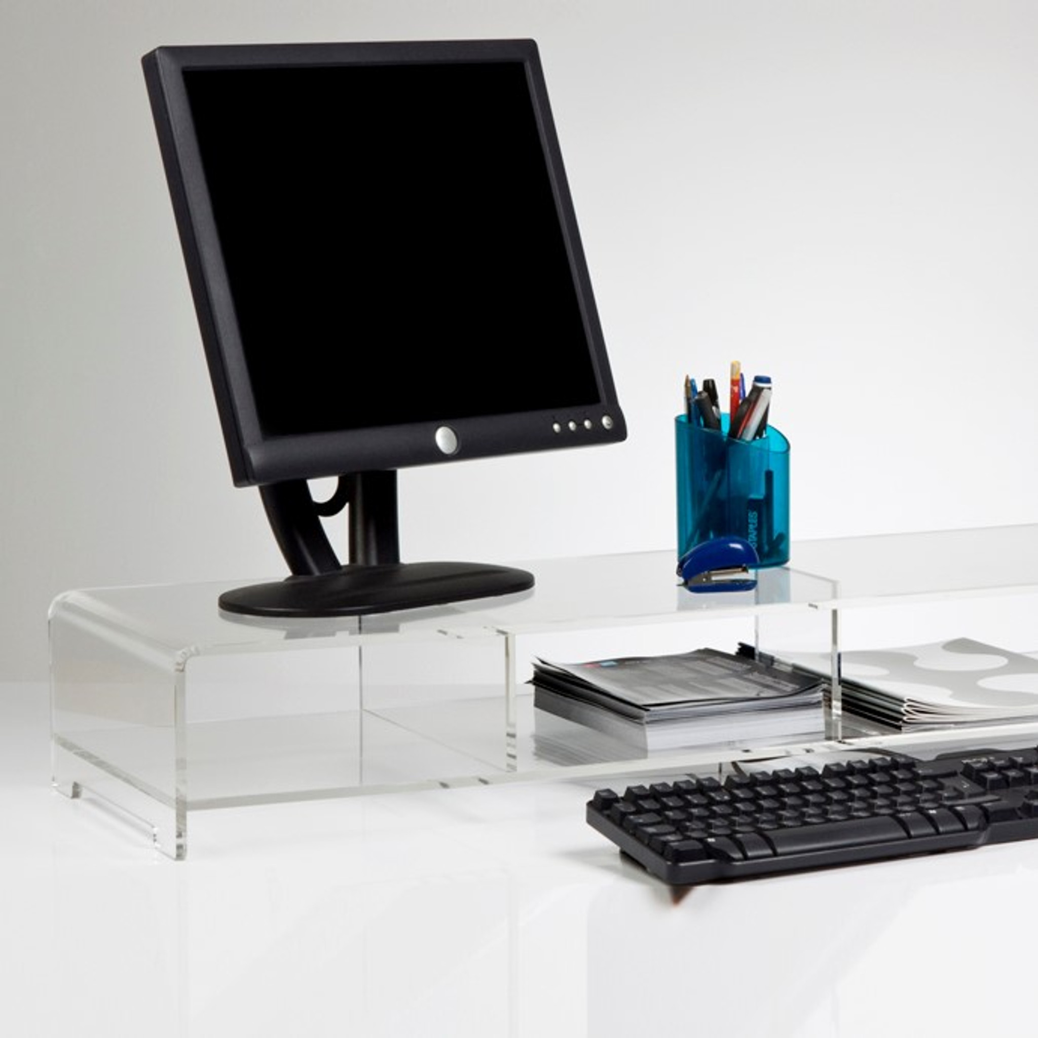 modern desk top clear acrylic lucite organizer