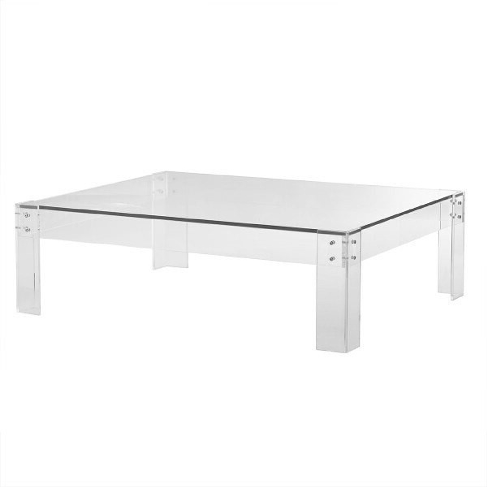 Clear Lucite Rectangular Coffee Table with Metal Bolts
