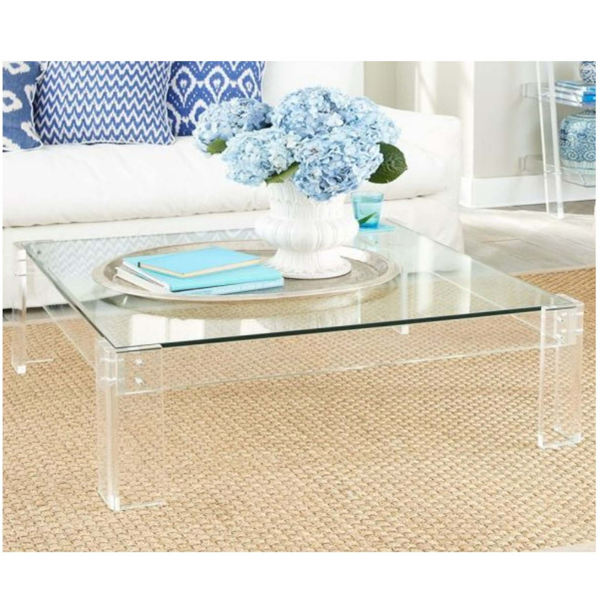 clear acrylic lucite square designer modern glass top coffee table metal screws bolts custom