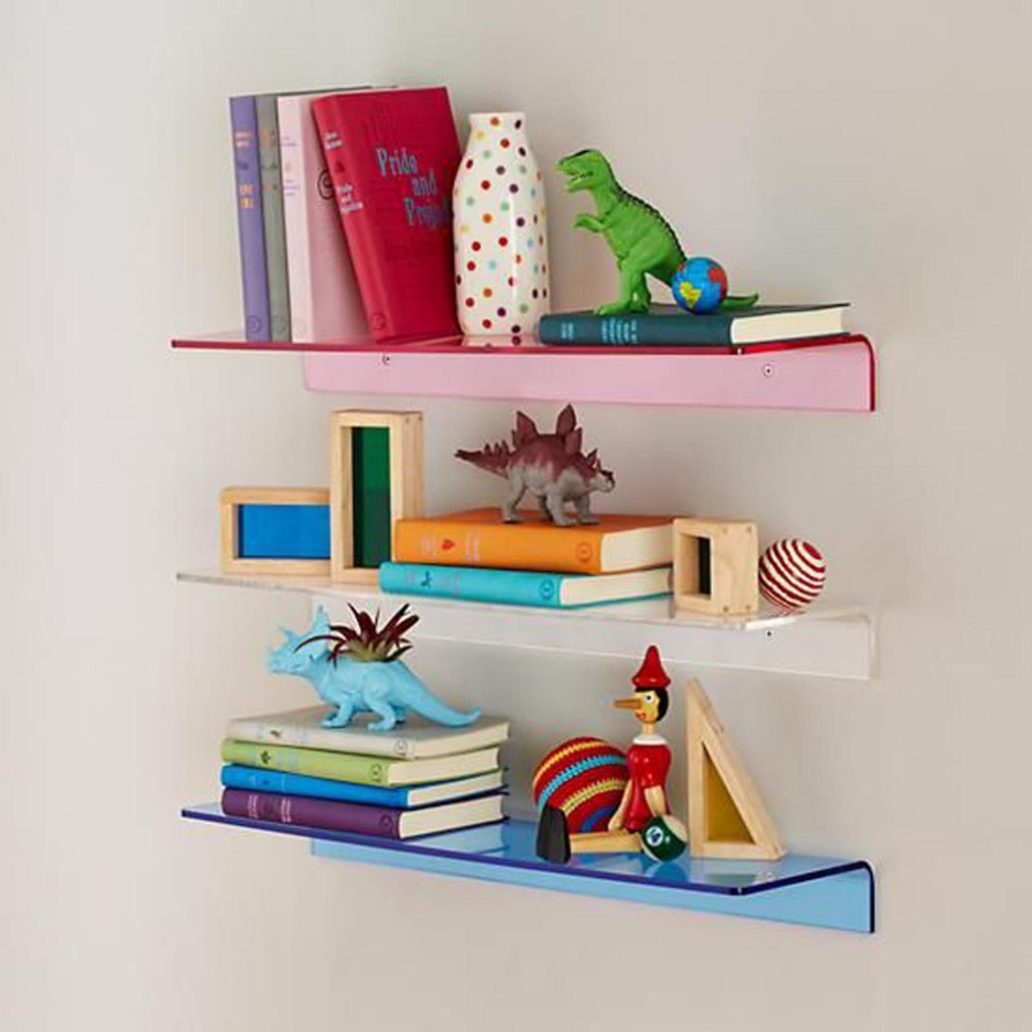 clear acrylic modern kids lucite wall shelf ledge bright neon color nursery