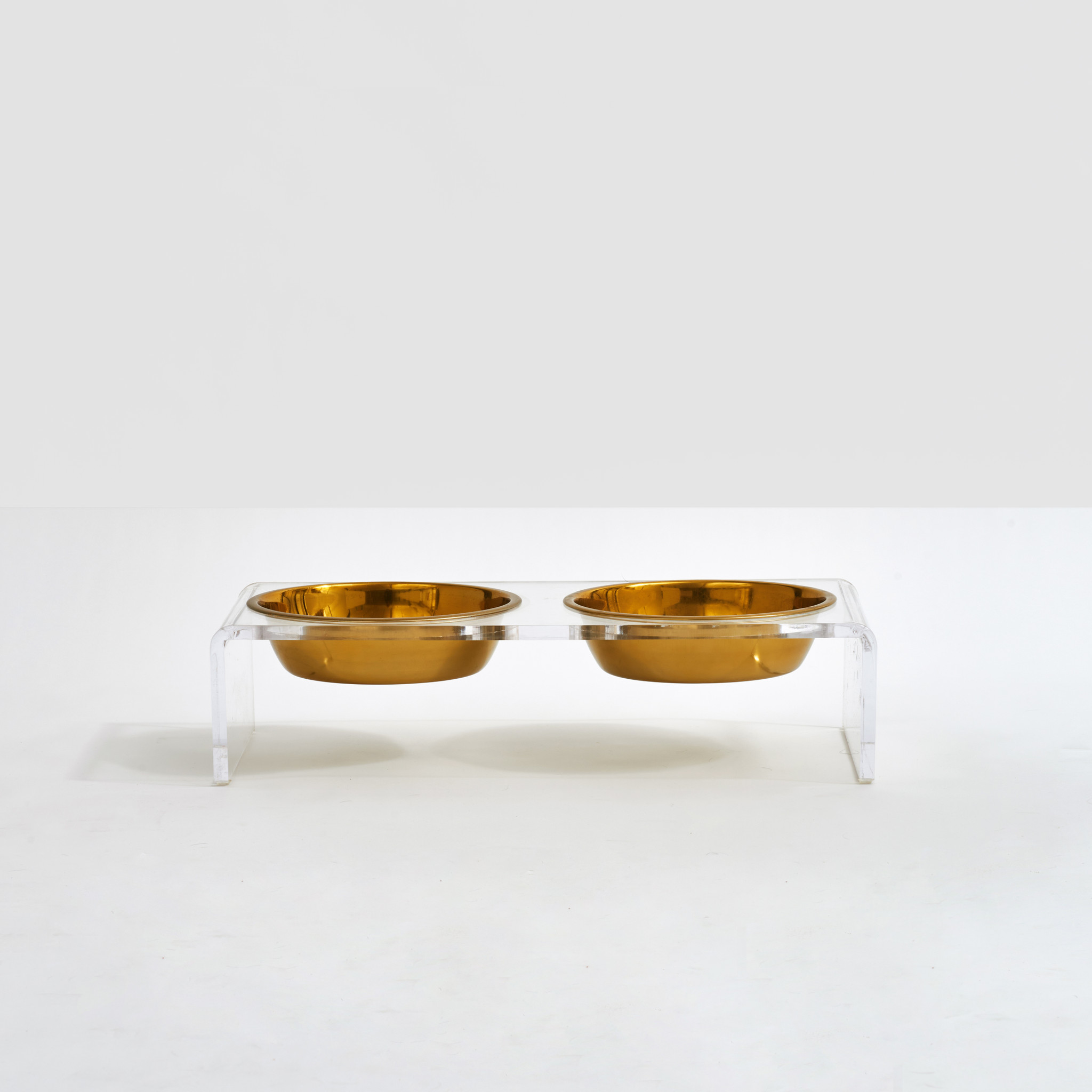 Clear Acrylic Double Bowl Pet Feeder with Gold Bowls