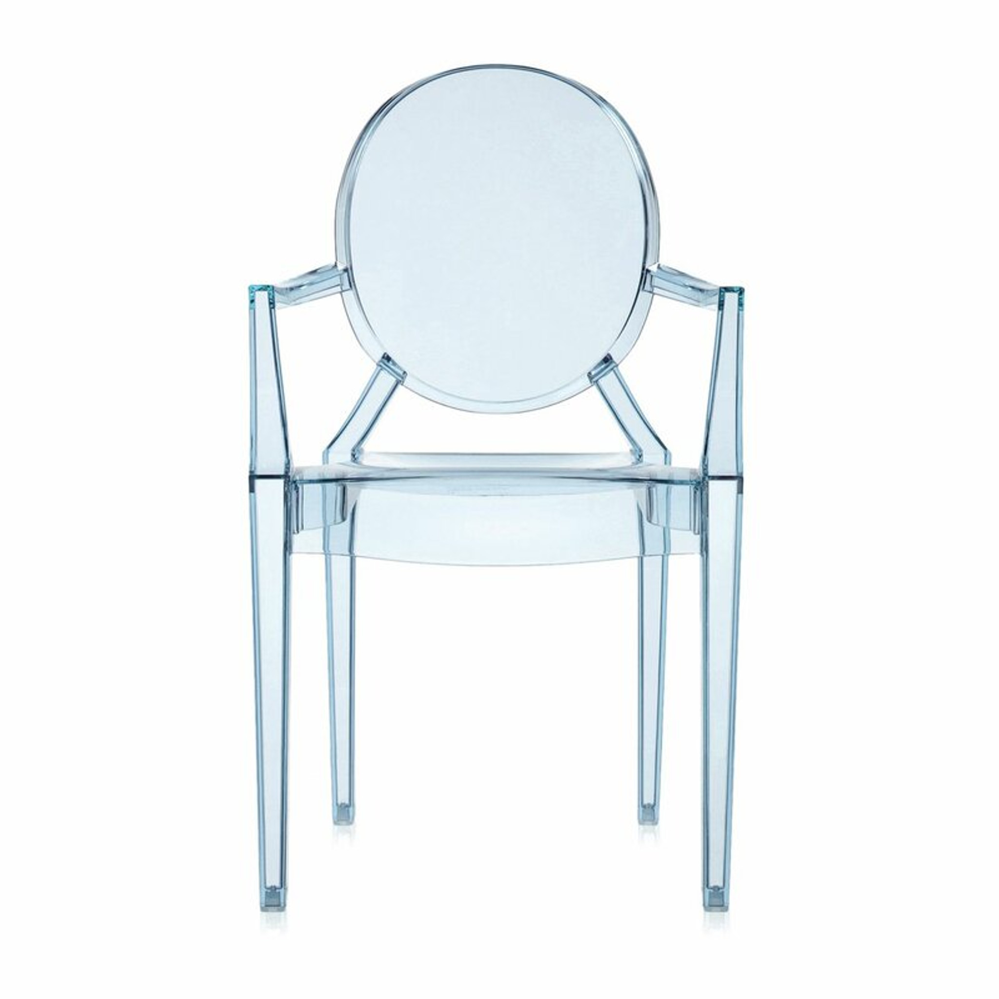 kartell lou lou ghost kids clear lucite acrylic arm chair child size light blue