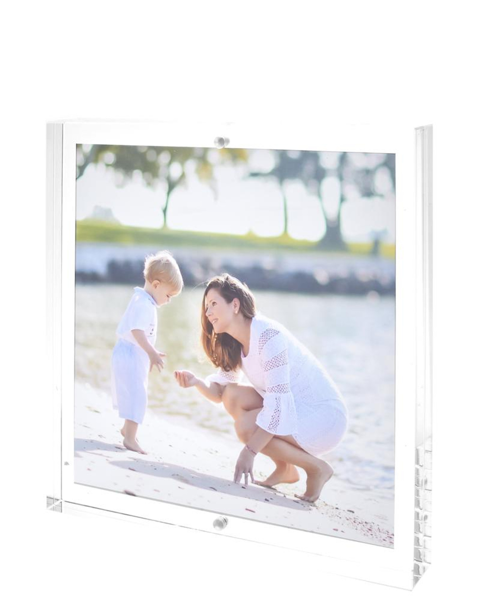 tara wilson thick lucite acrylic clear block picture frame tabletop desk top modern 2 sided floating