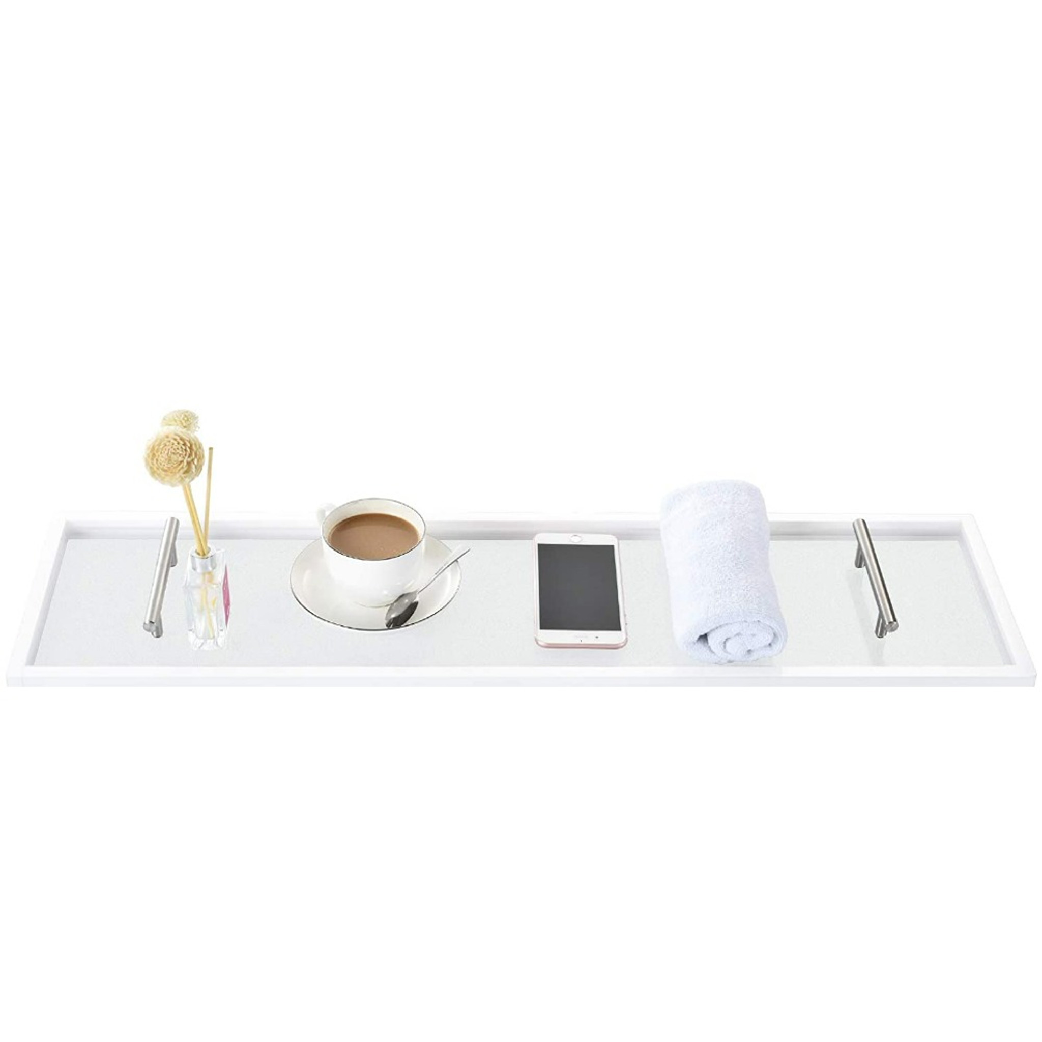 frosted acrylic lucite bath caddy silver handles