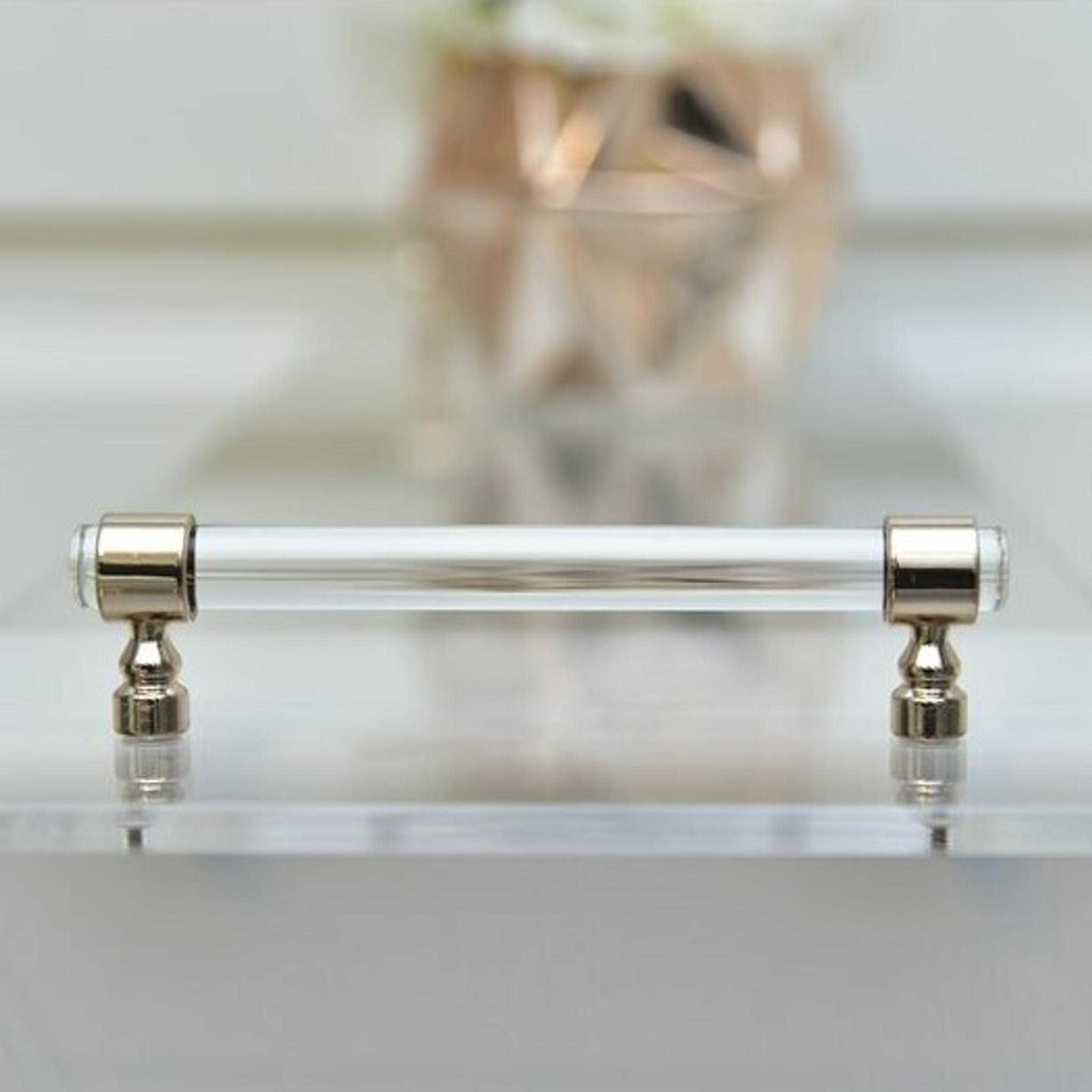clear lucite acrylic modern bathtub caddy shelf handles