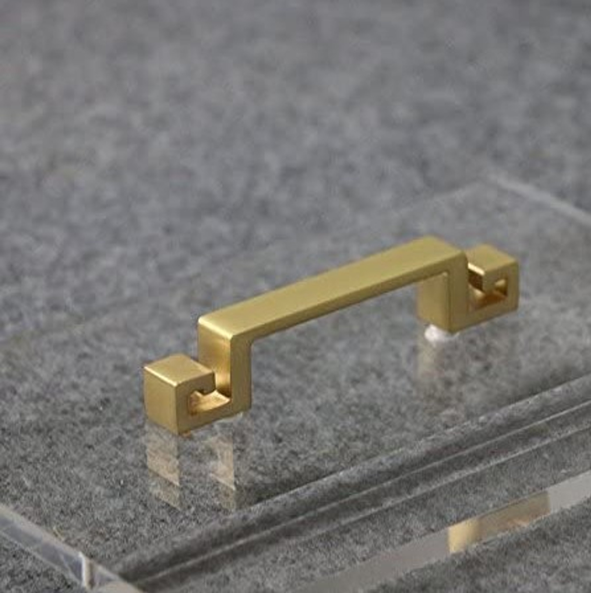 clear acrylic lucite modern bath caddy gold brass greek key handles bathroom