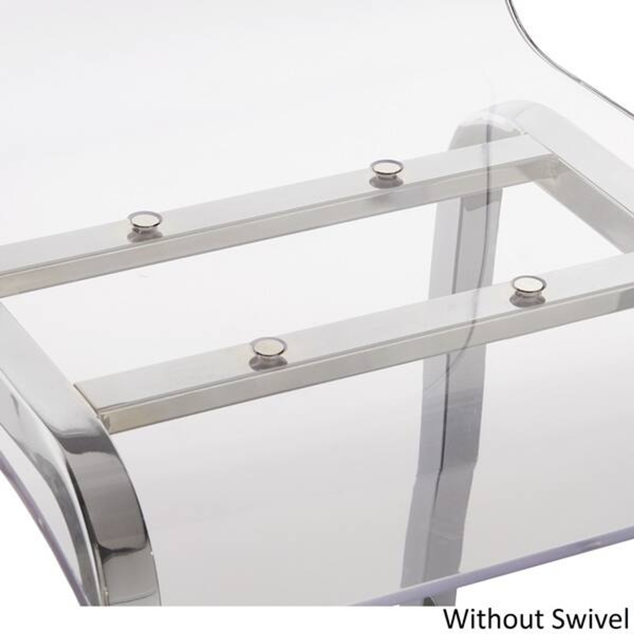 modern high back chrome clear acrylic lucite swivel silver counter bar stools set of 2
