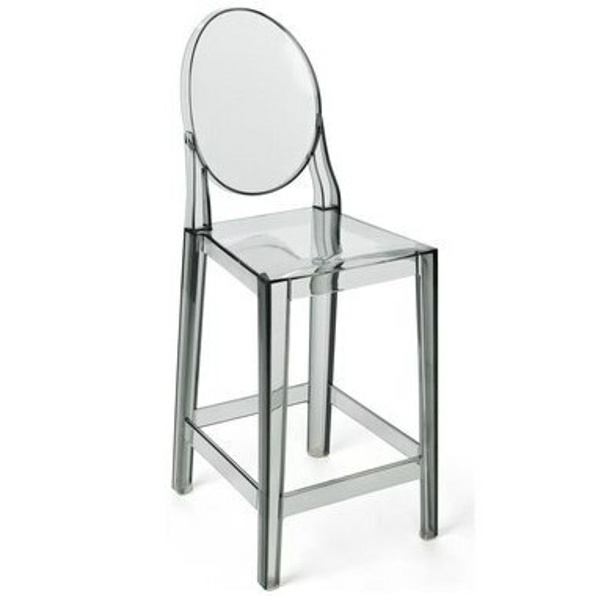 clear acrylic lucite grey copy knock off replica ghost barstool with back