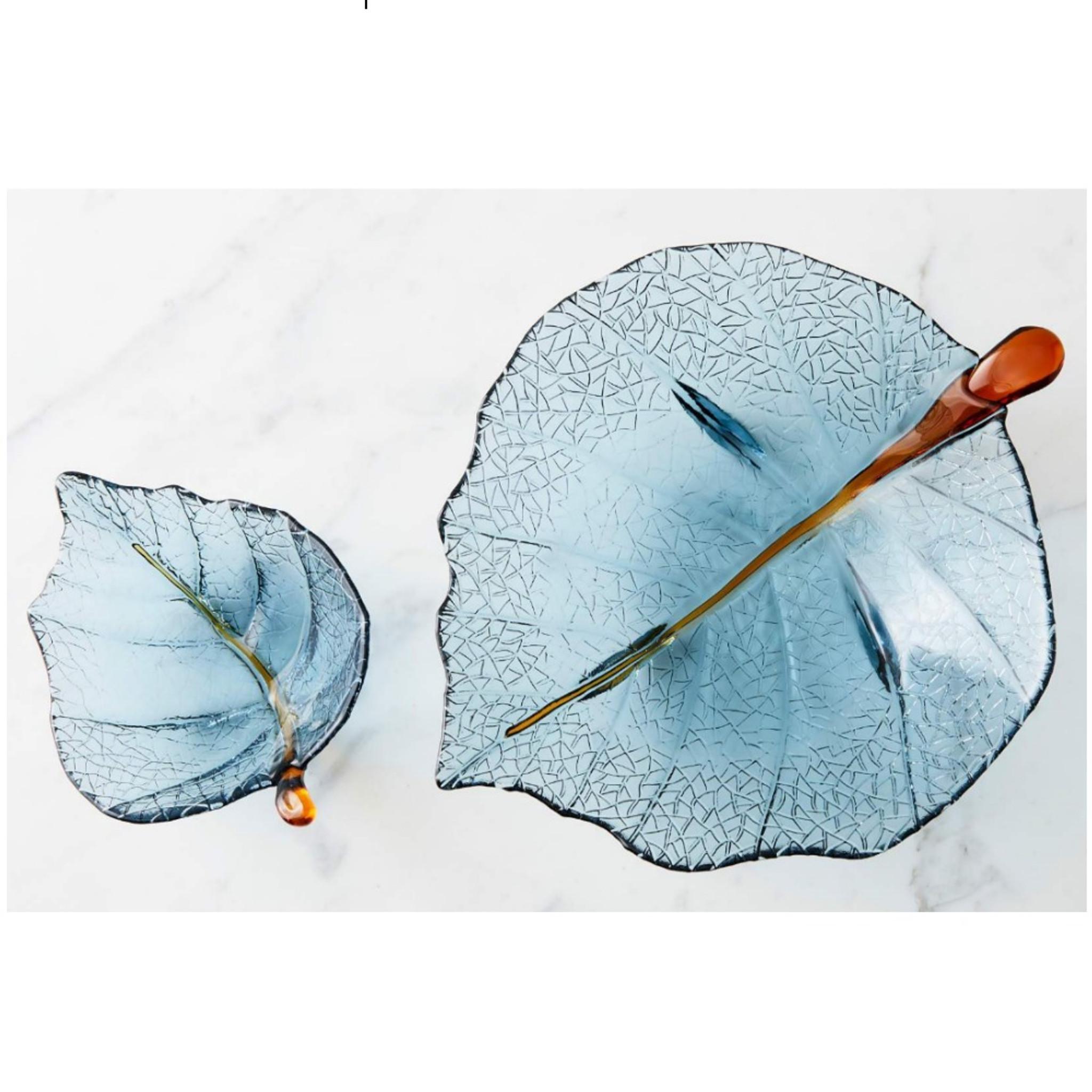 handblown glass organic natural blue leaf bowl dish