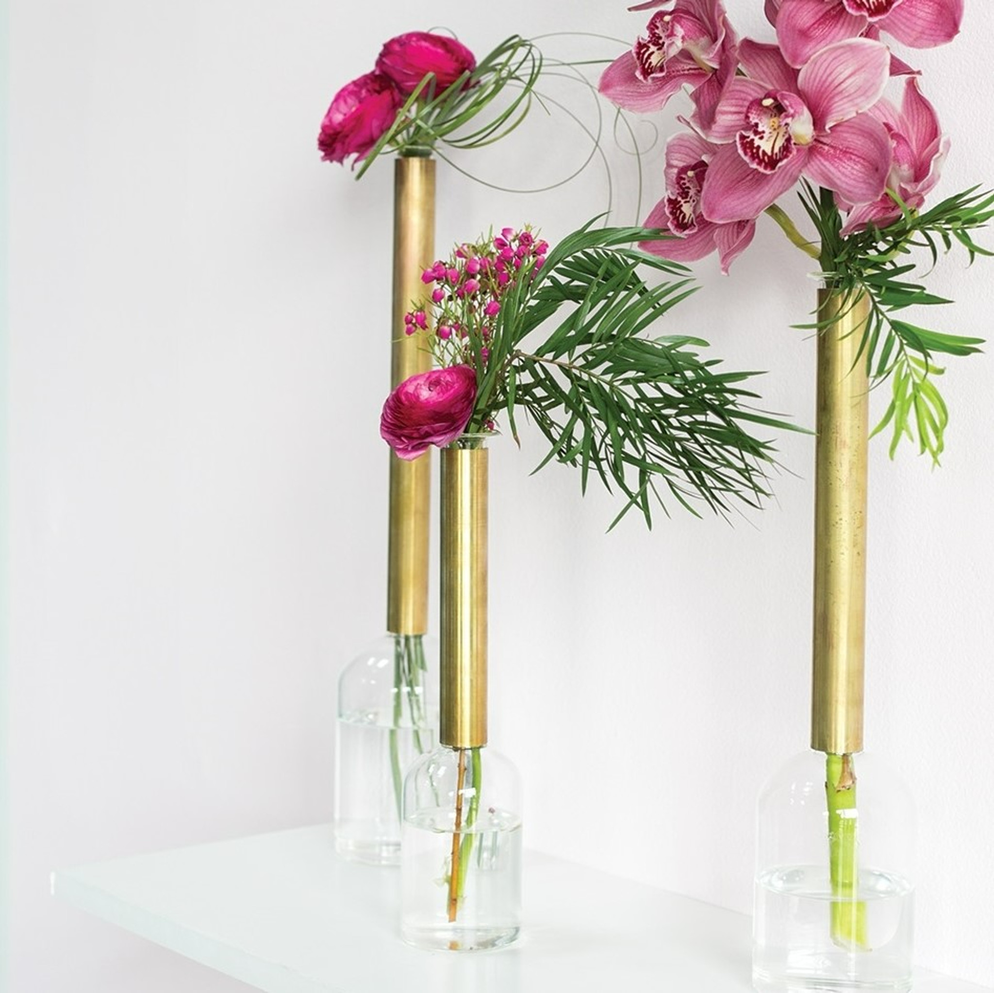 Gold Tall Neck Flask Vases, Set of 3